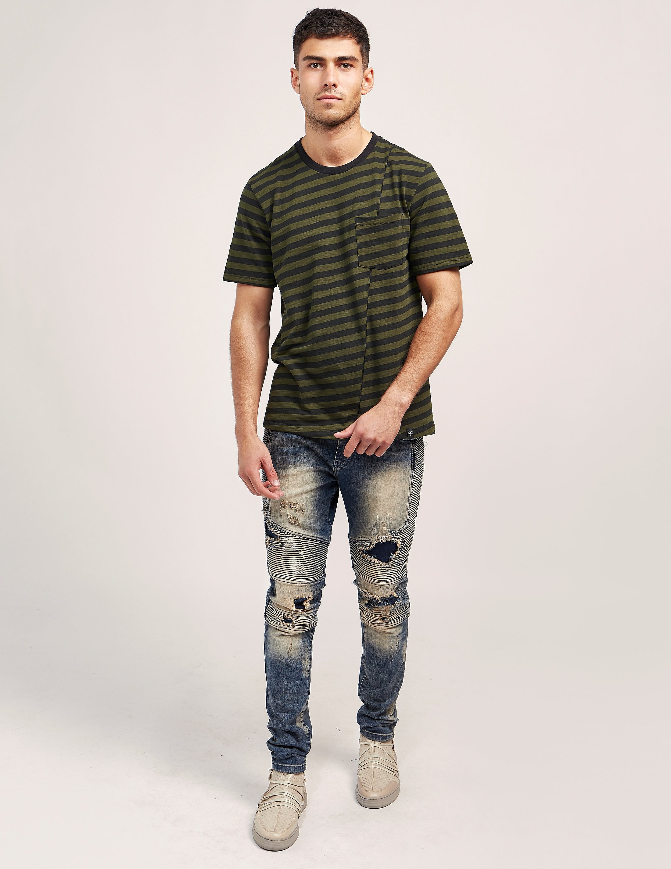 Rag & Bone Stripe Pocket Short Sleeve T-Shirt