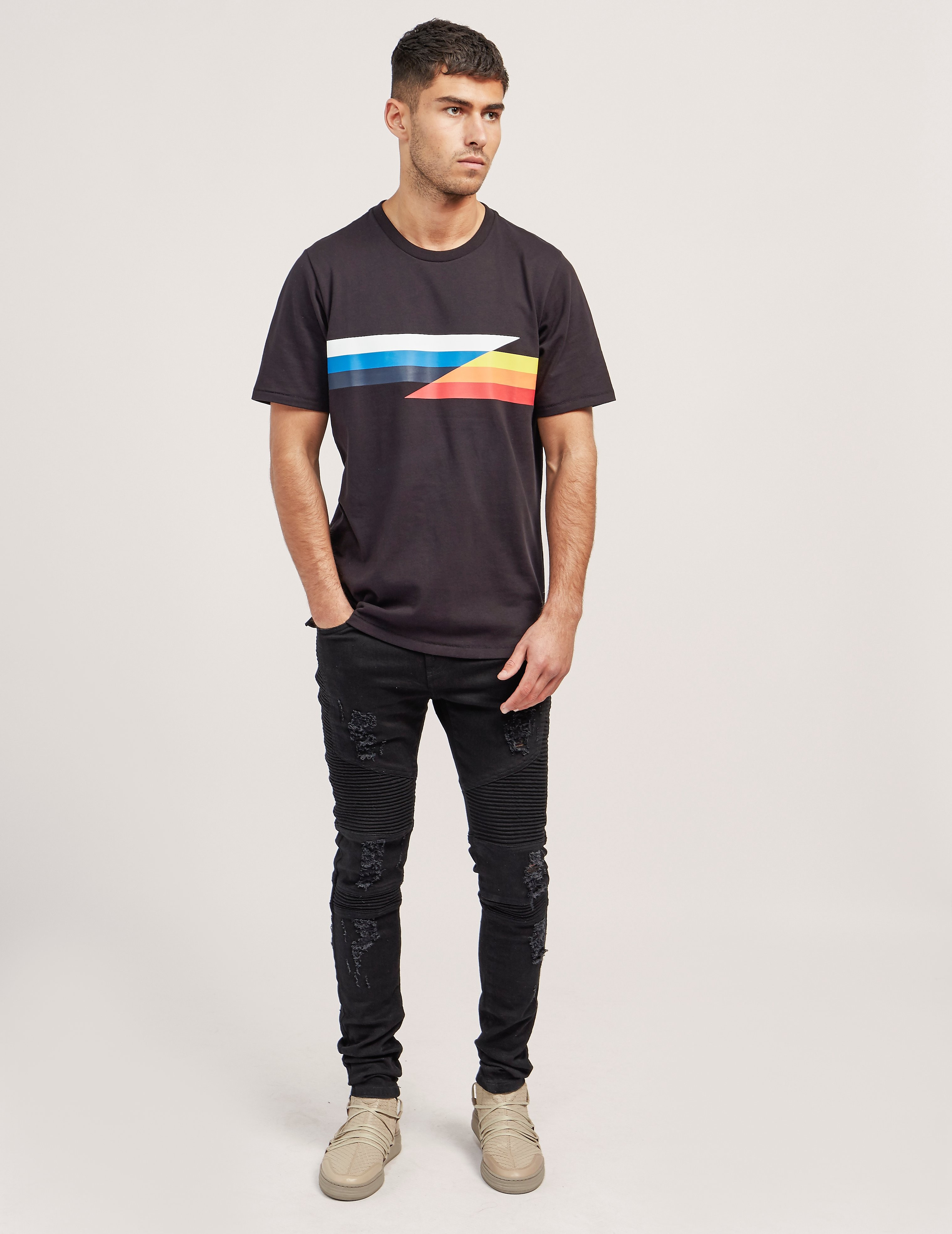 Rag & Bone Glitch Stripe Short Sleeve T-Shirt
