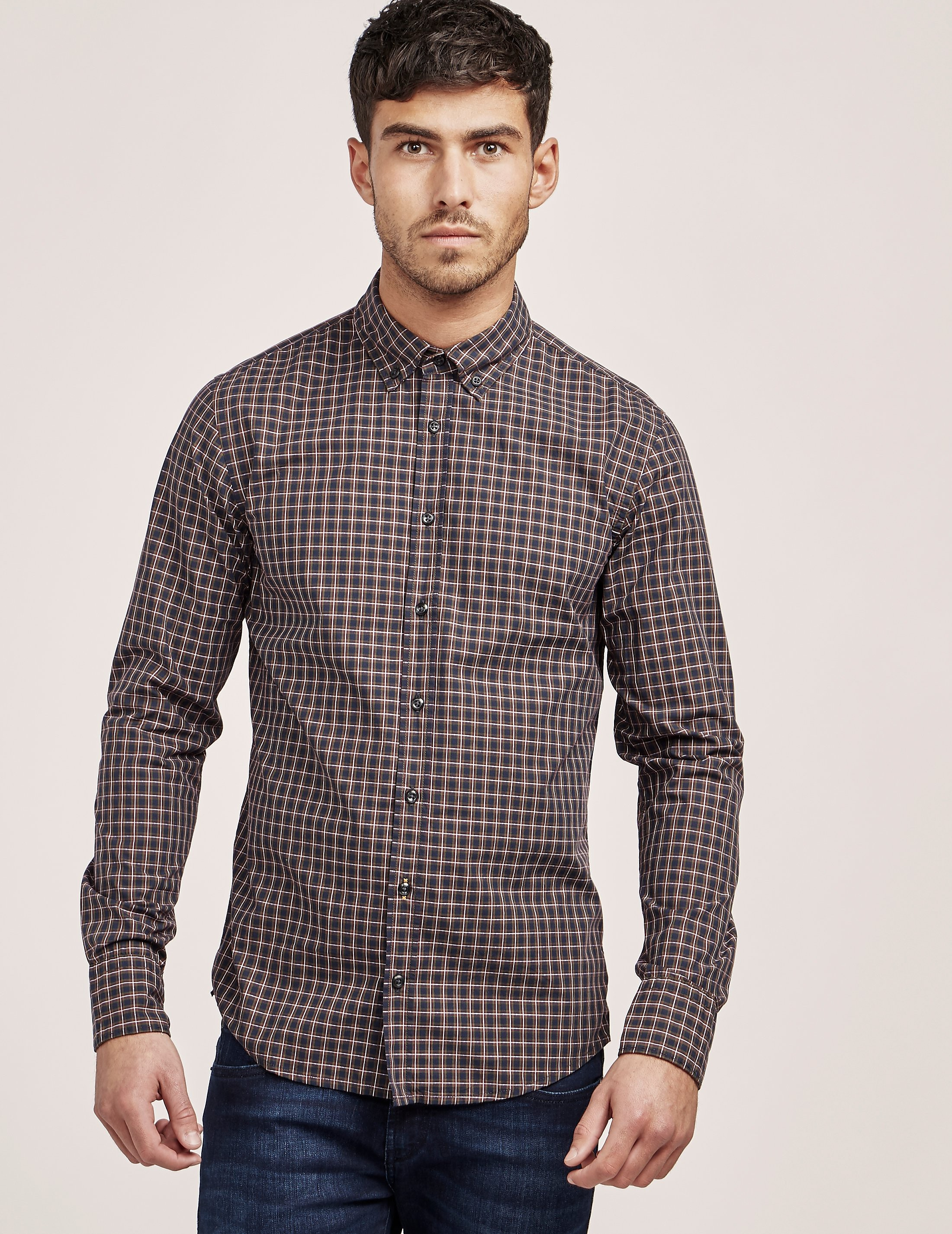 BOSS Orange Checked Long Sleeve Shirt