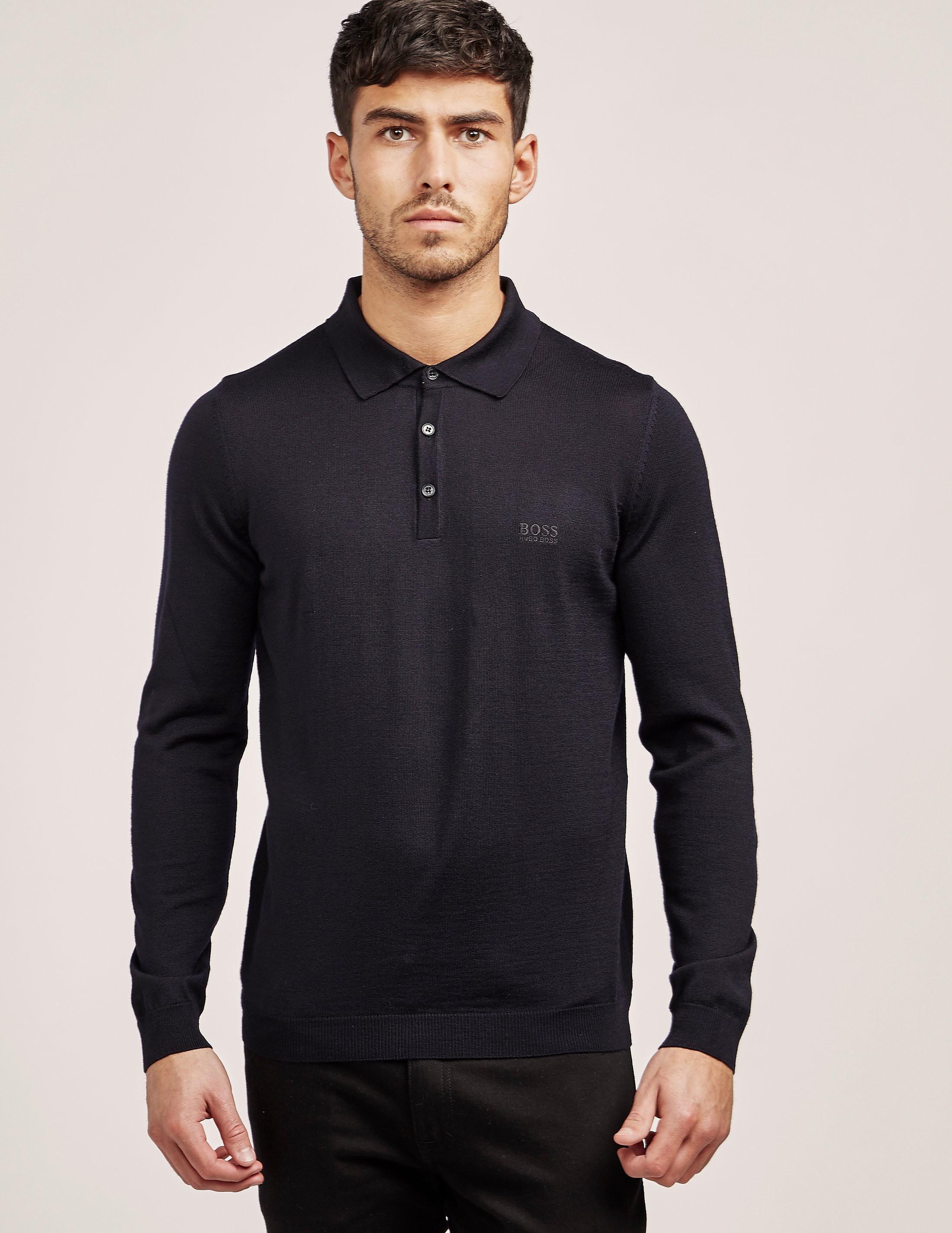 BOSS Green Knitted Long Sleeve Polo Shirt