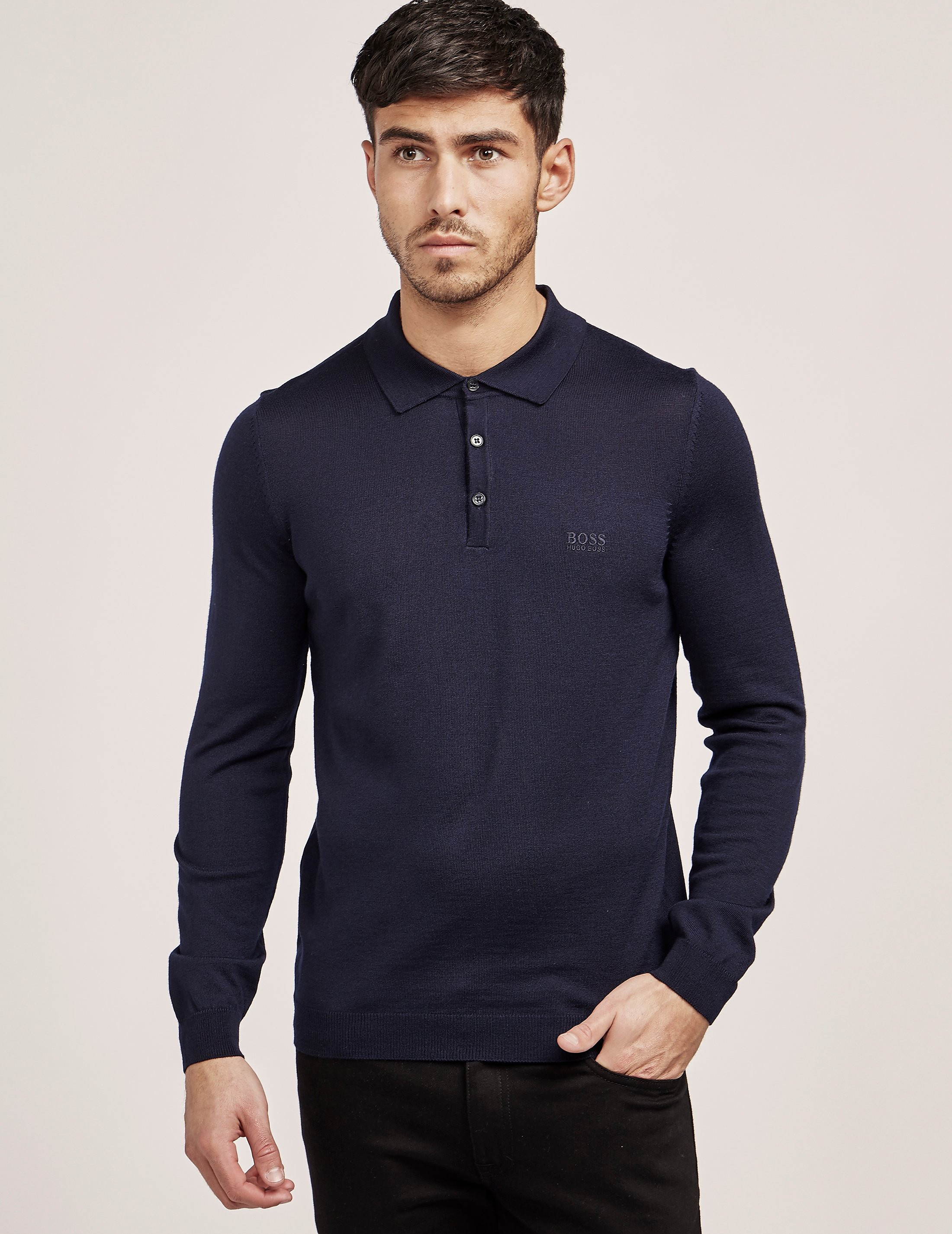 BOSS Knitted Long Sleeve Polo Shirt