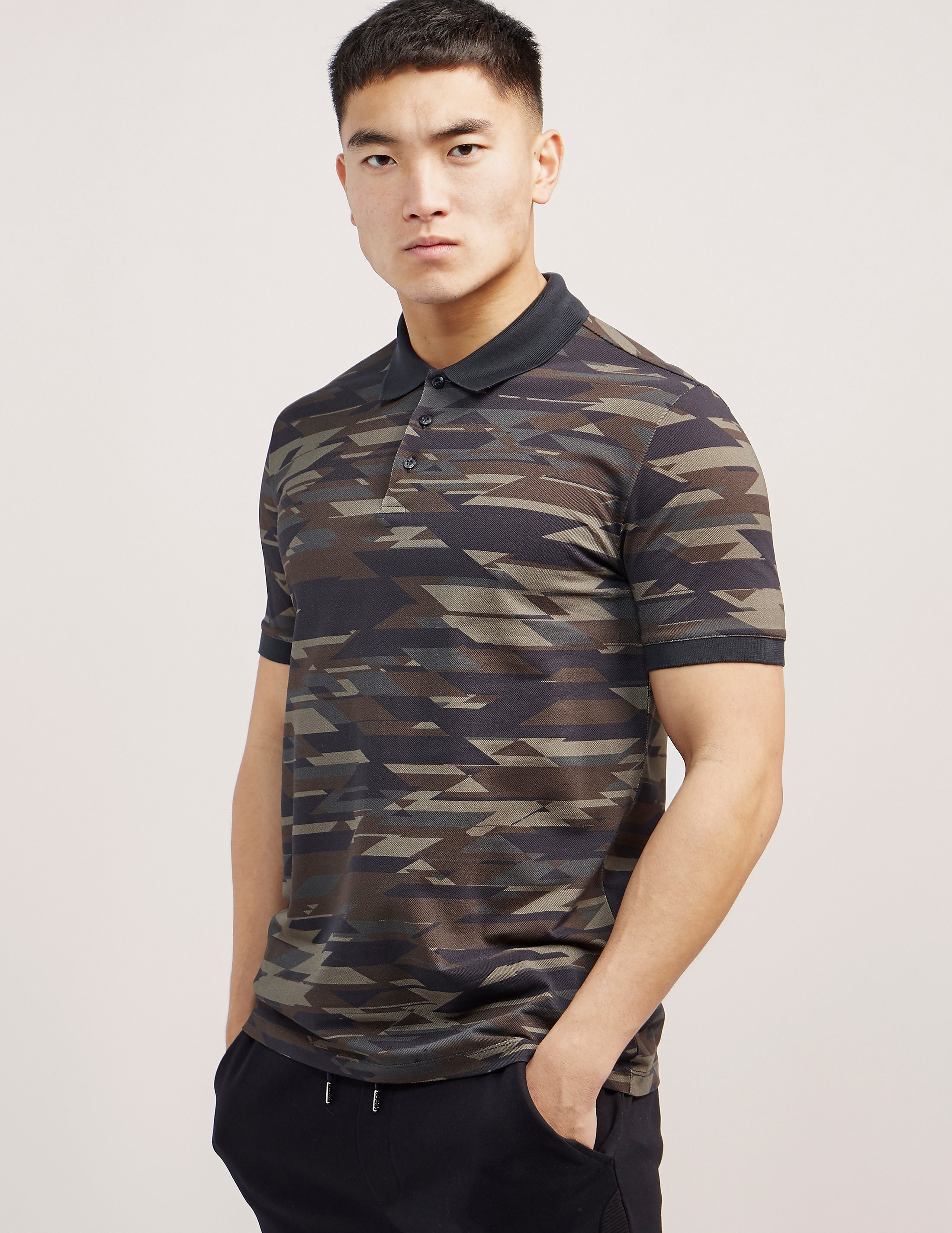 HUGO Camouflage Print Short Sleeve Polo Shirt