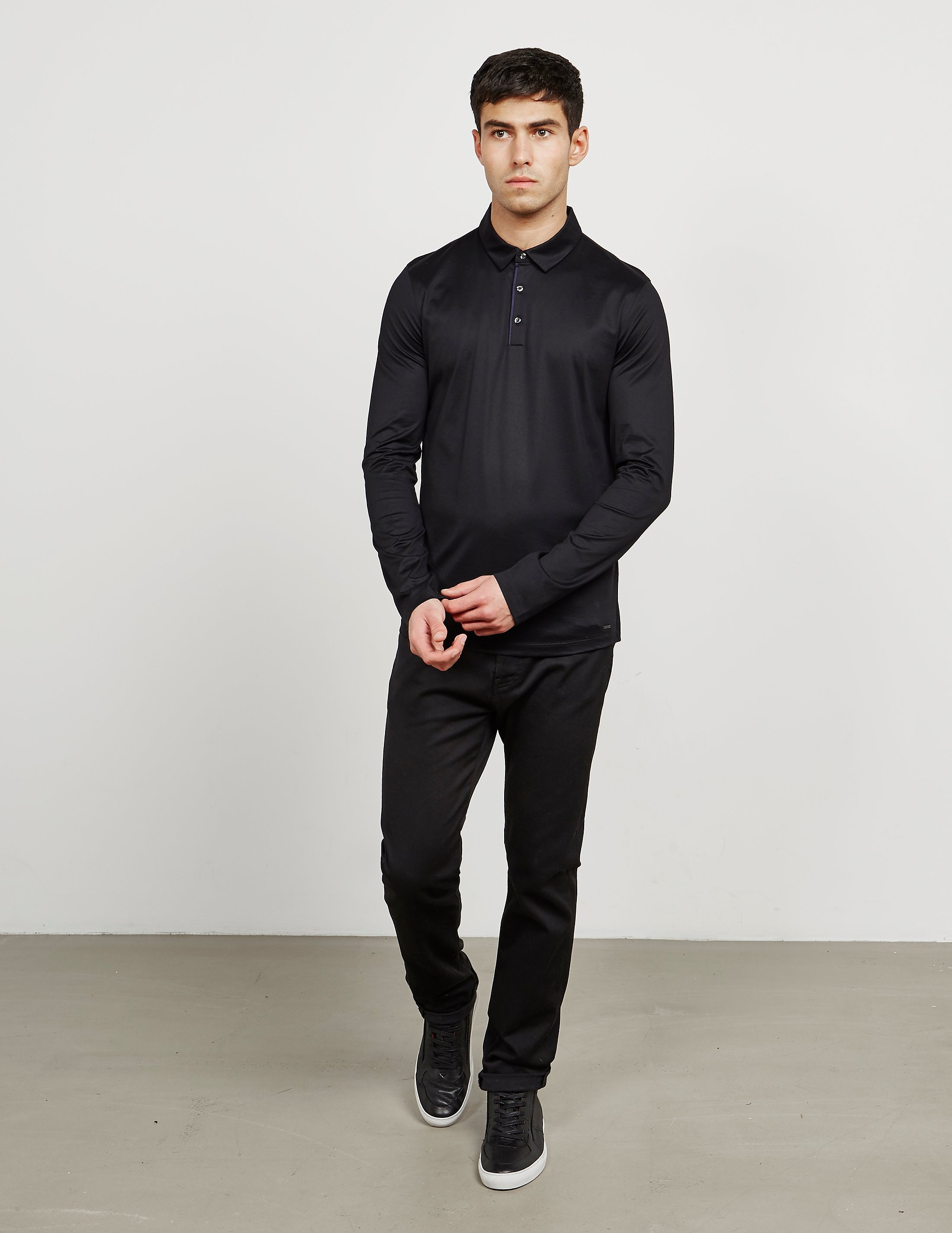 HUGO Mercerised Long Sleeve Polo Shirt
