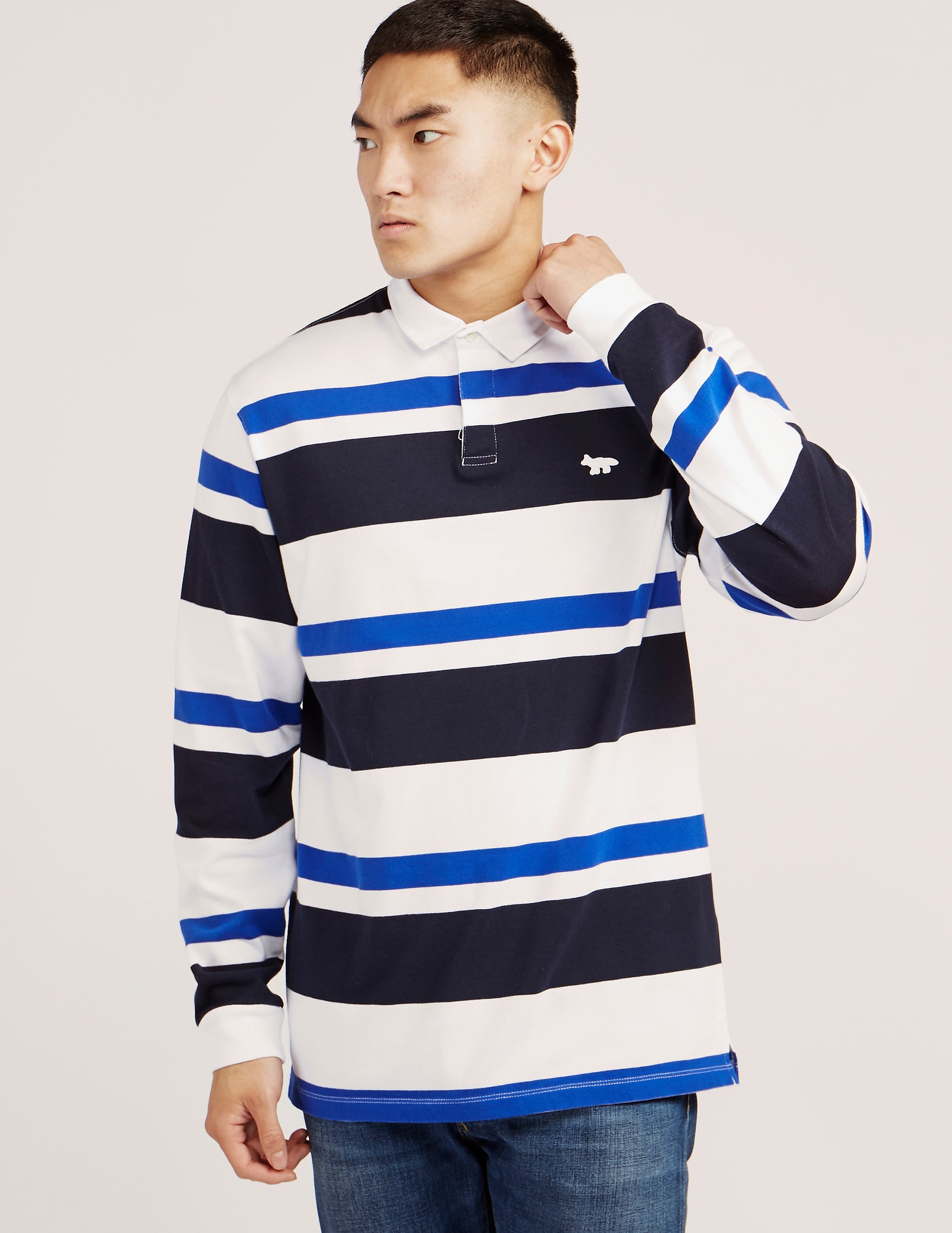 Maison Kitsune Striped Long Sleeve Polo Shirt