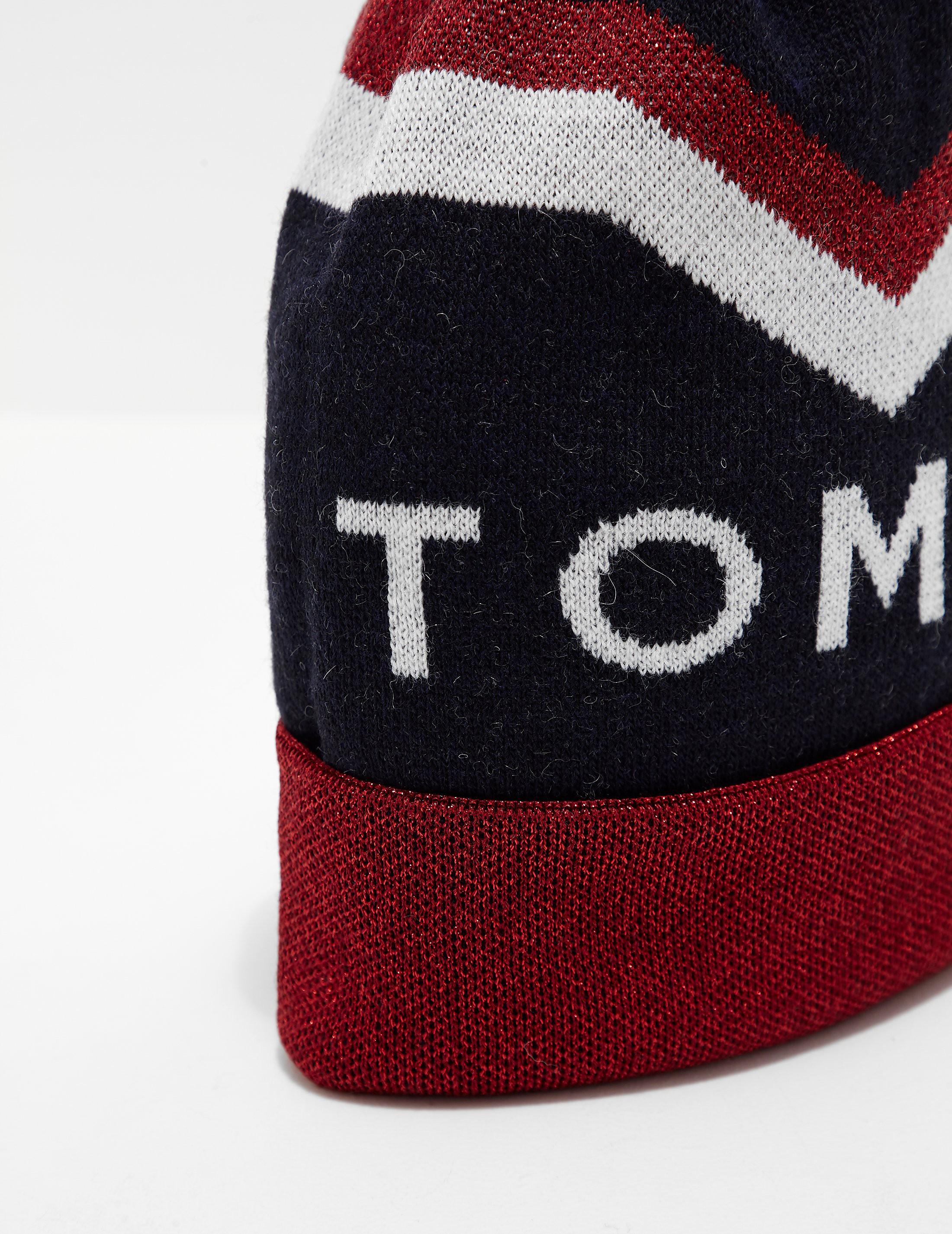 Tommy Hilfiger Chevron Pom Pom Beanie