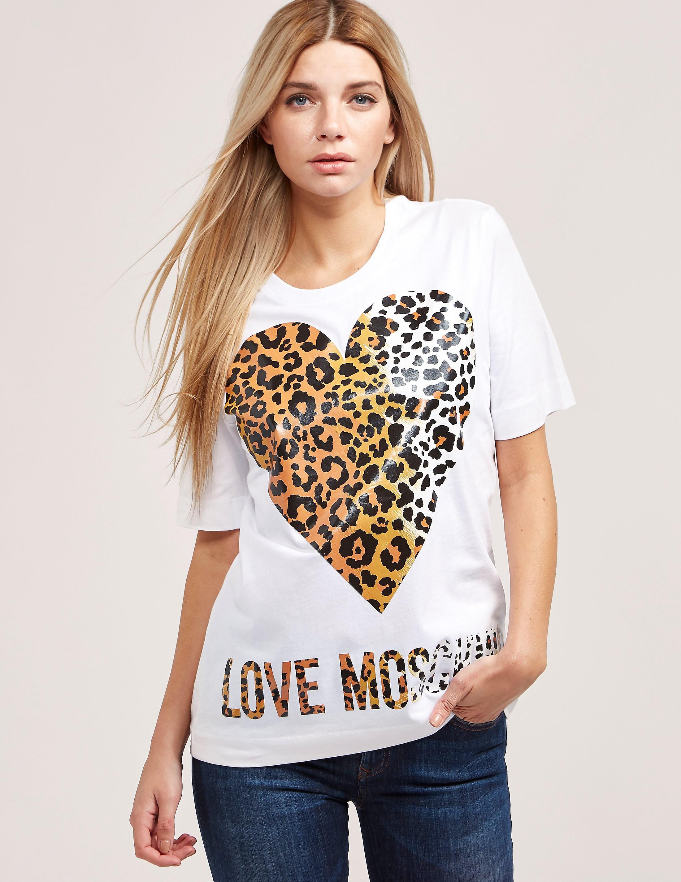 Love Moschino Leopard Heart Short Sleeve T-Shirt