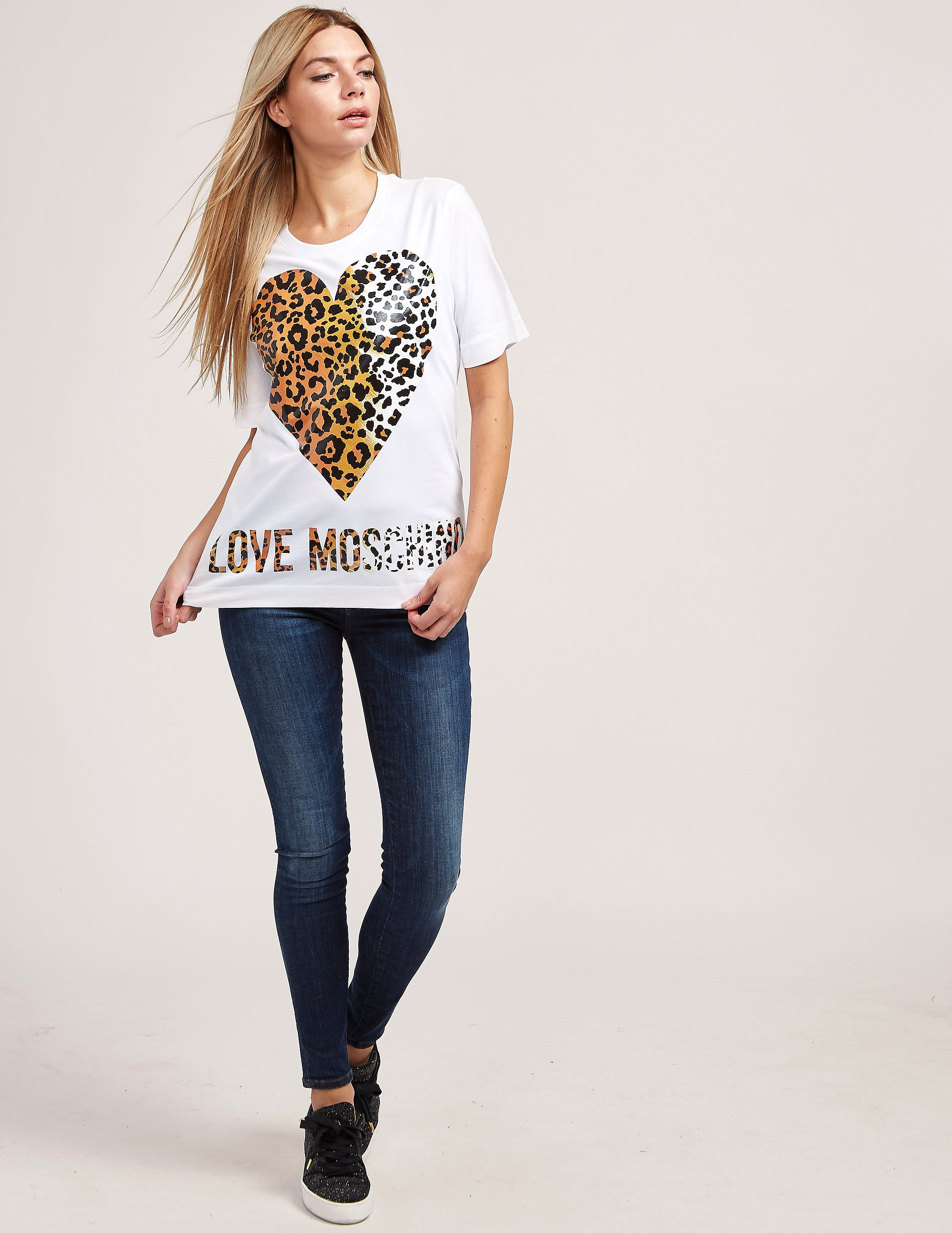 Love Moschino Leopard Heart Short Sleeve T-Shirt