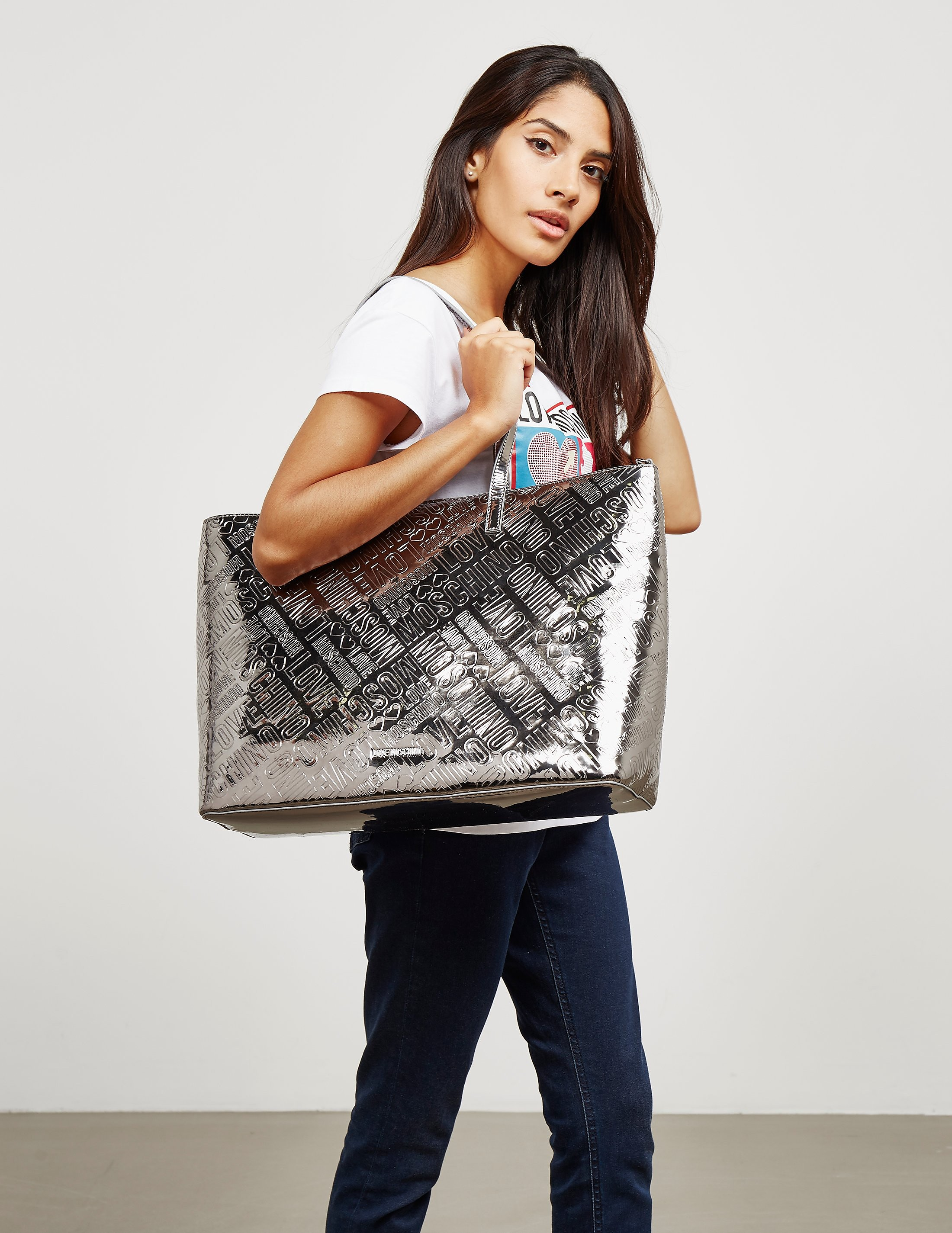 Love Moschino Patent Logo Shopper Bag