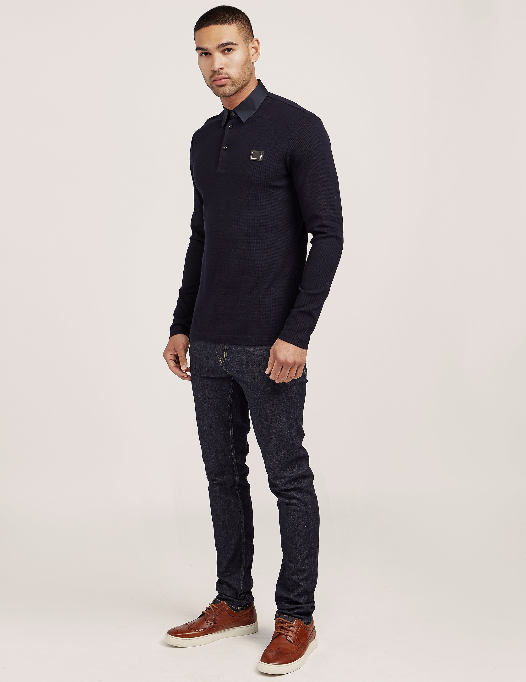 Antony Morato Plaque Long Sleeve Polo Shirt
