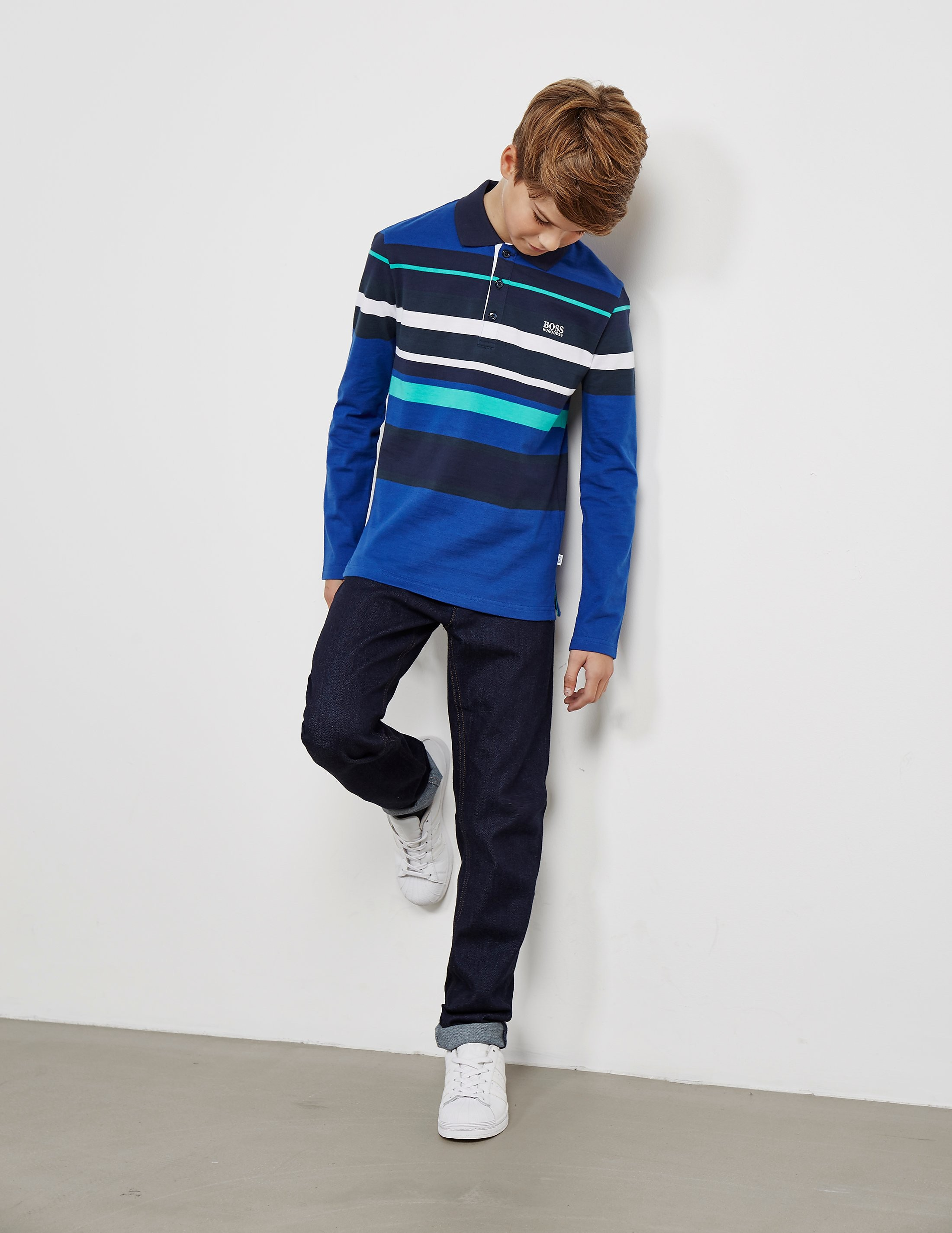 BOSS Stripe Long Sleeve Polo Shirt