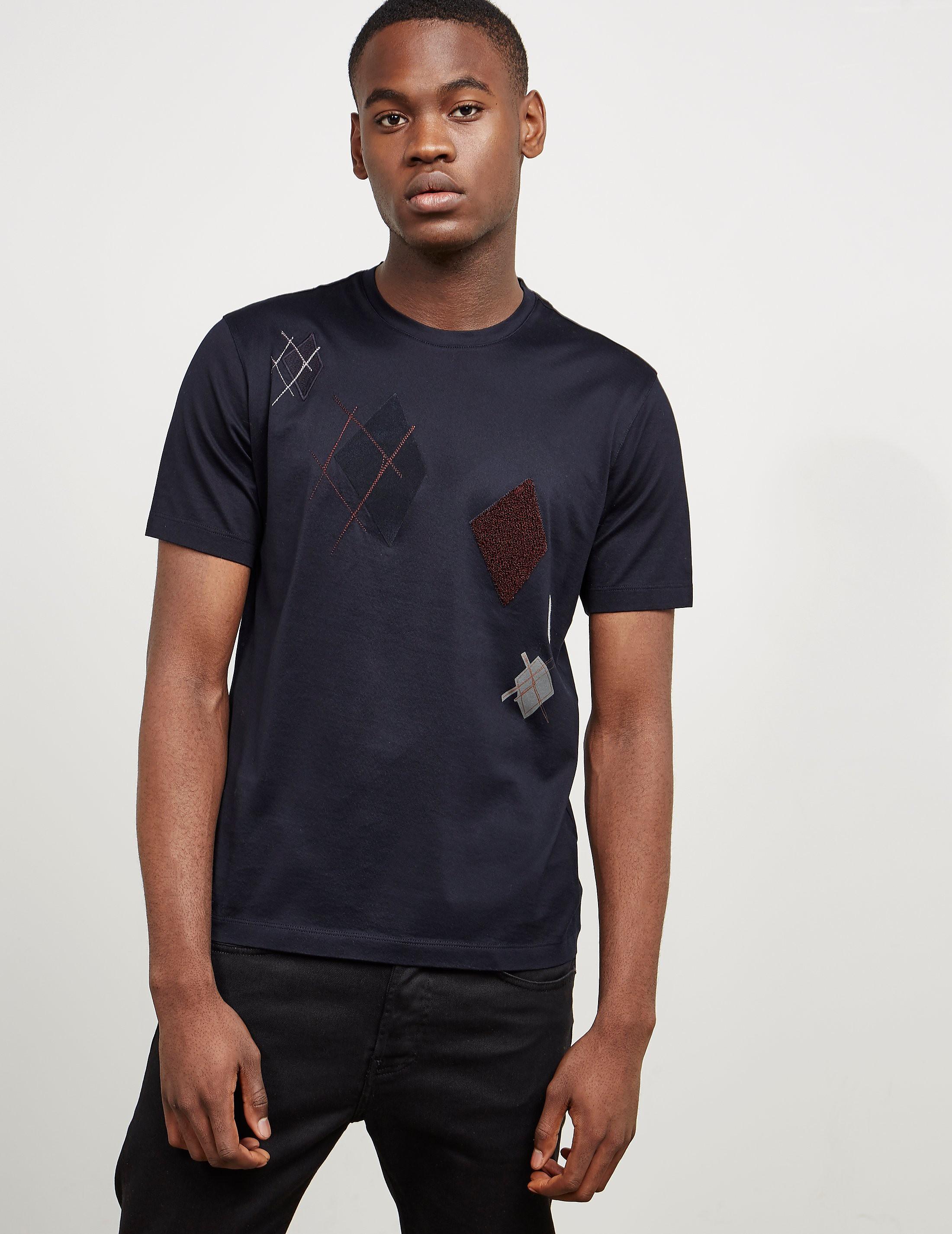 Z Zegna Argyle Applique Short Sleeve T-Shirt