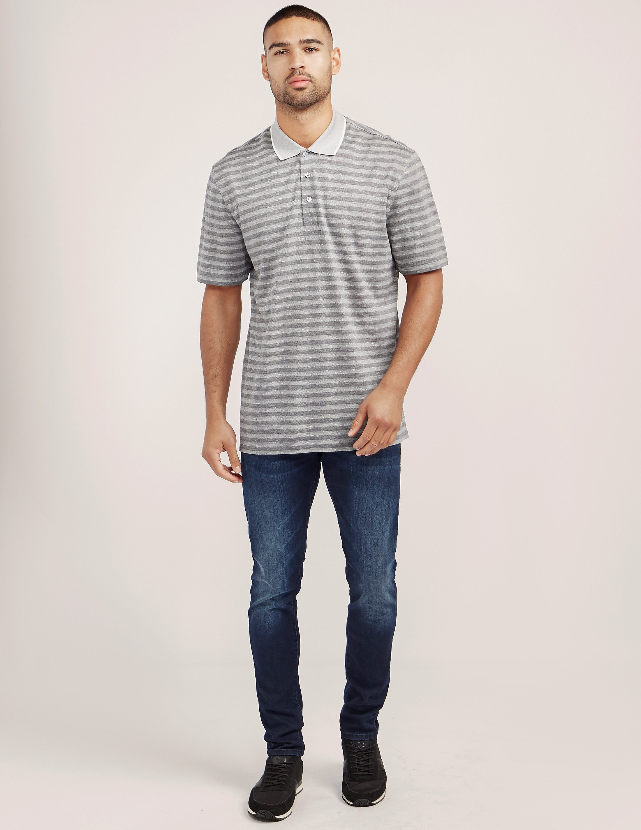 Z Zegna Stripe Short Sleeve Polo