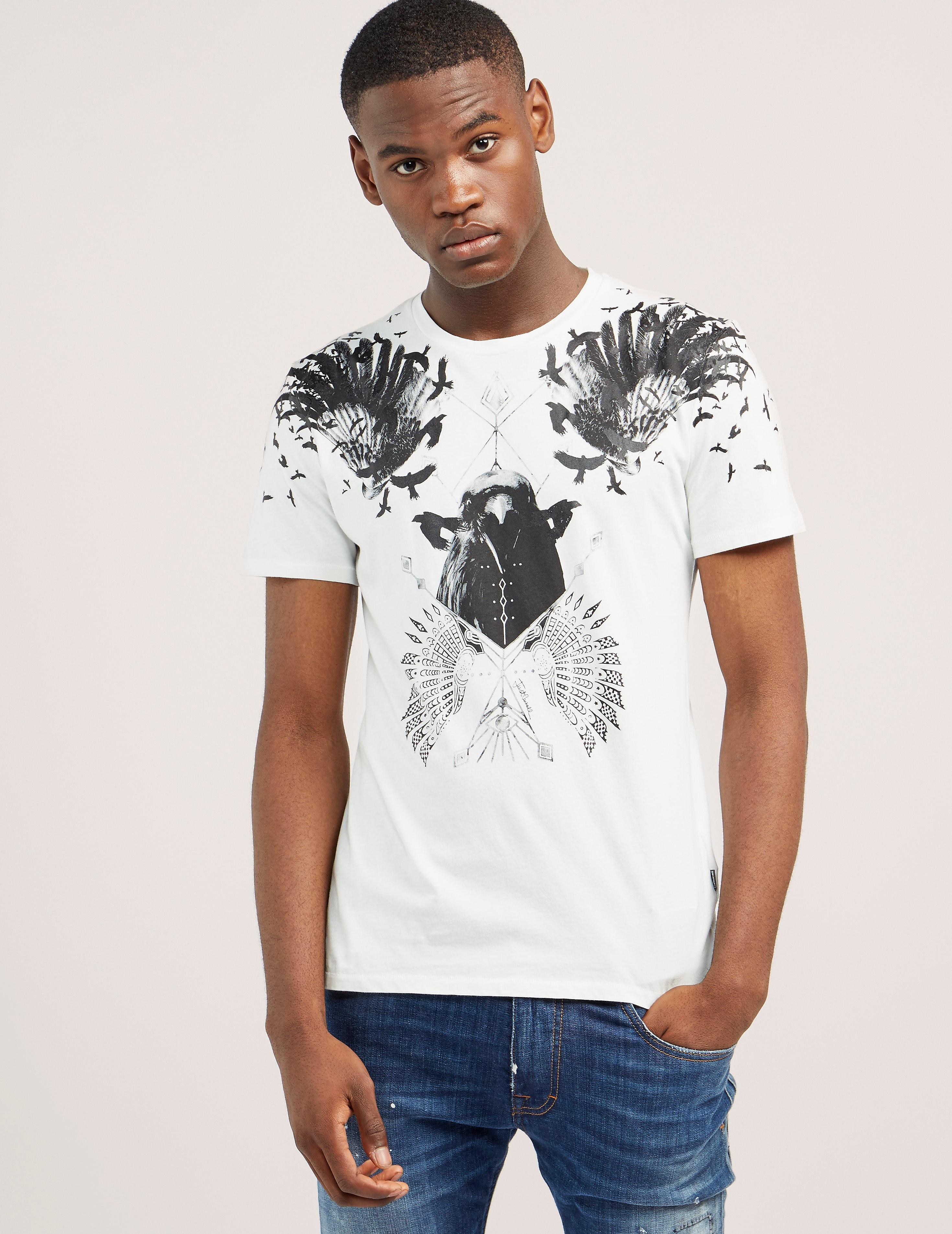 Just Cavalli Crow Print Short Sleeve T-Shirt