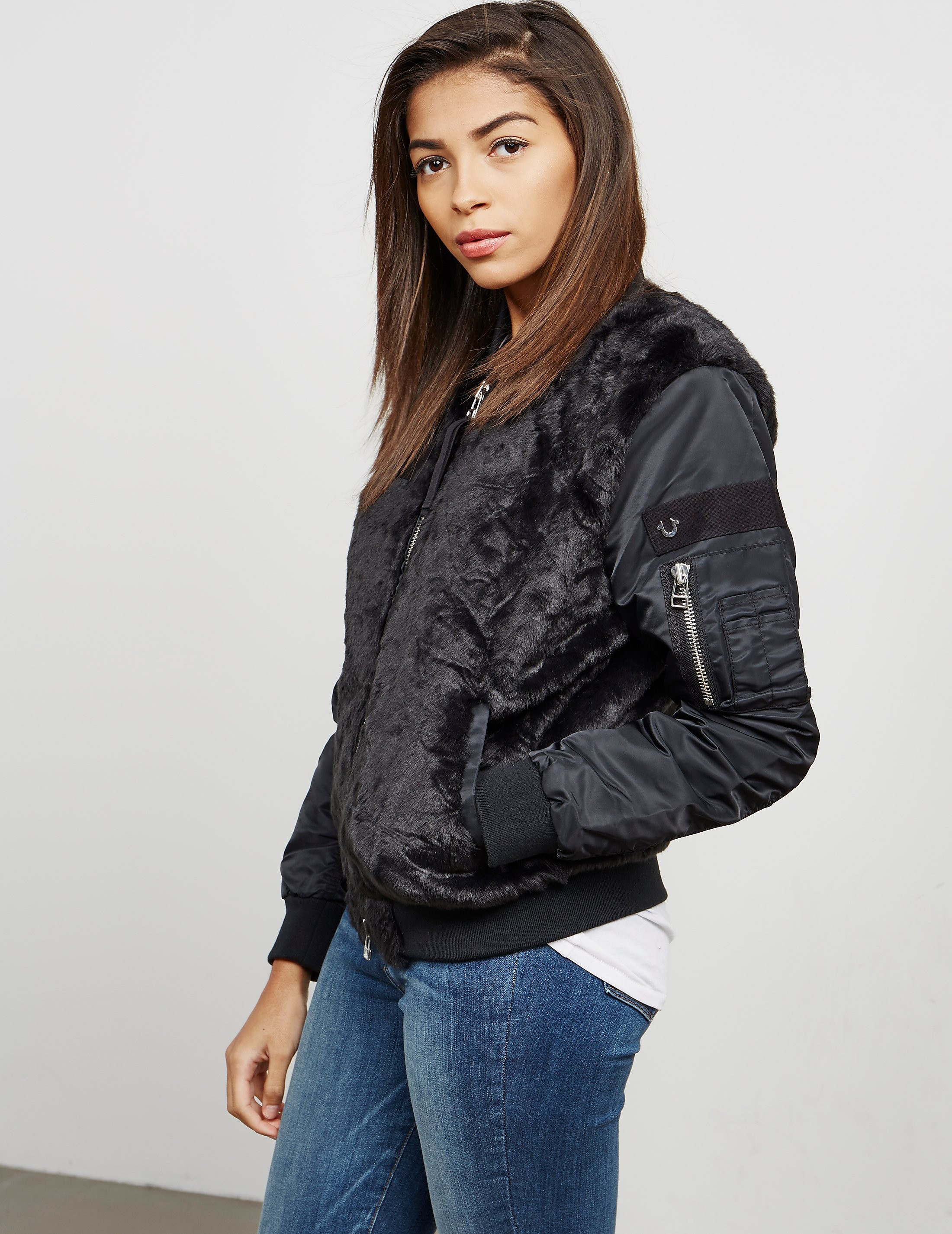 True Religion Faux Fur Bomber Jacket