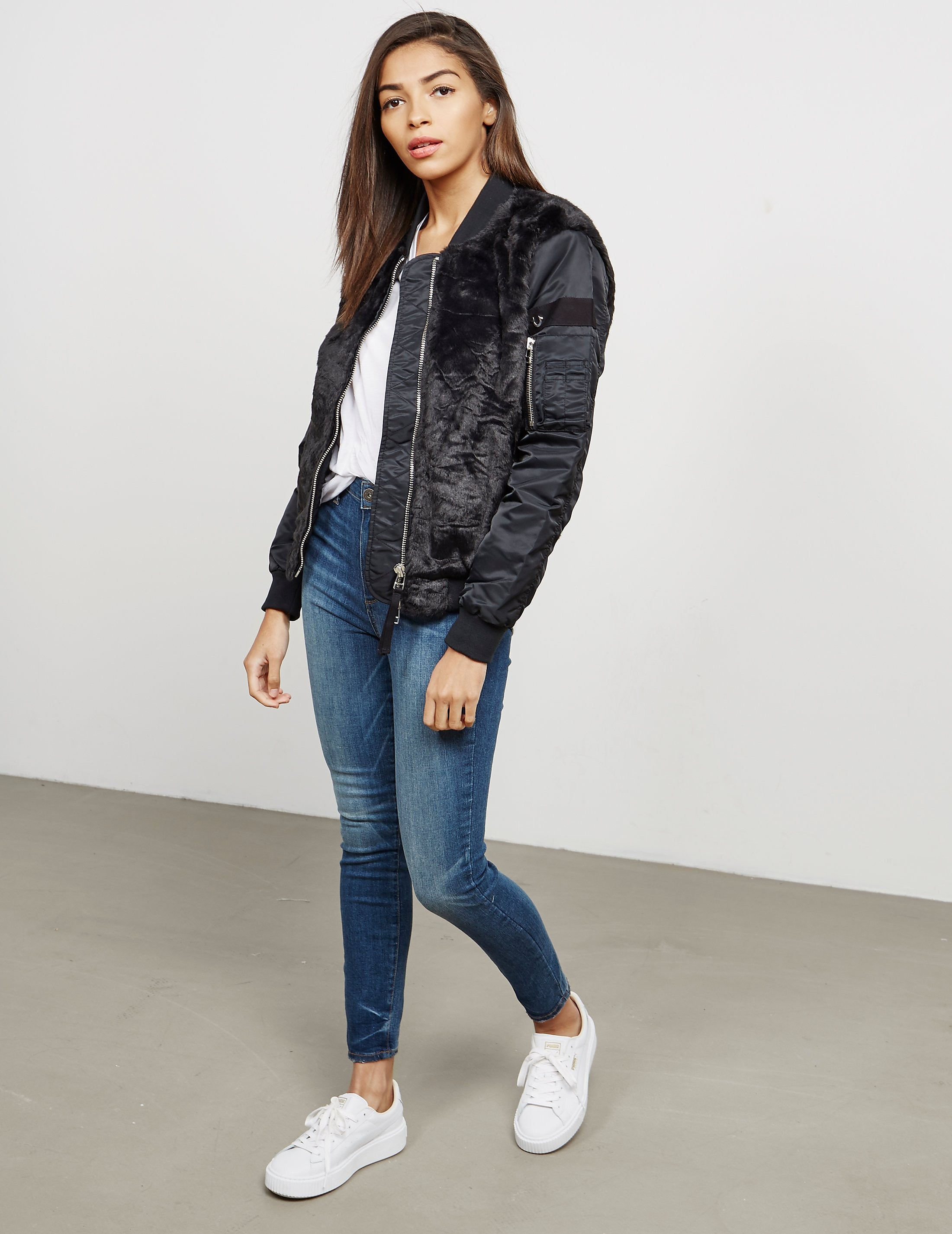 True Religion Faux Fur Bomber Jacket