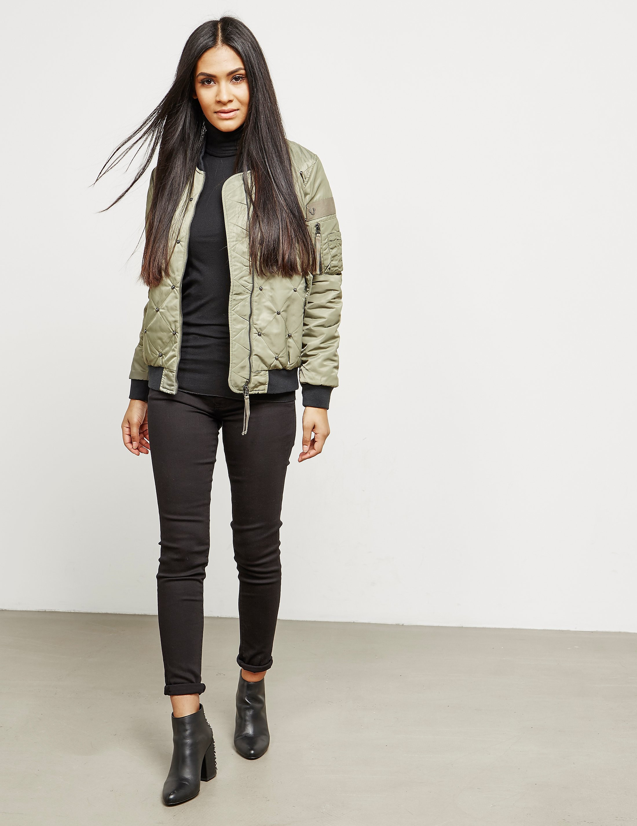 True Religion Chalk Quilted Bomber Jacket