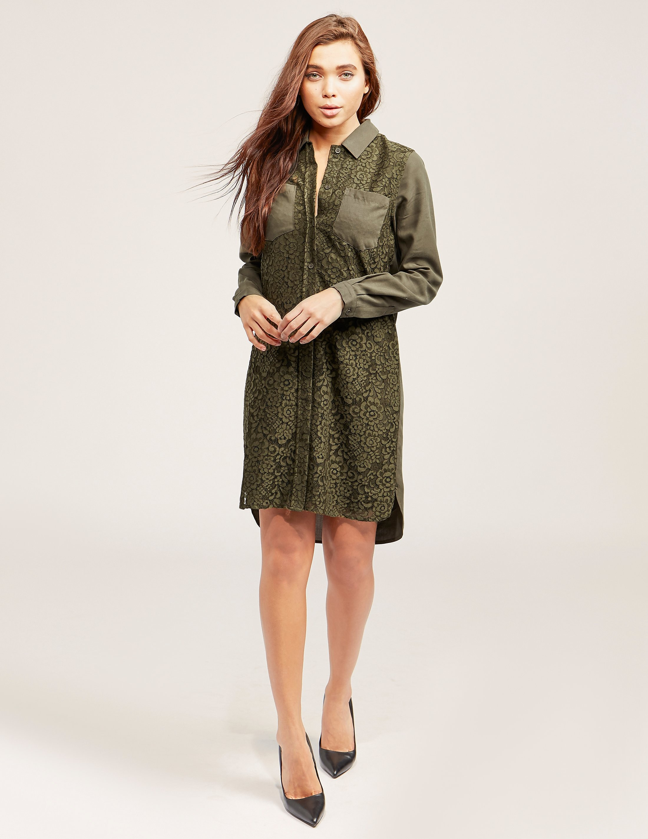 French Connection Lace Shirt Dress