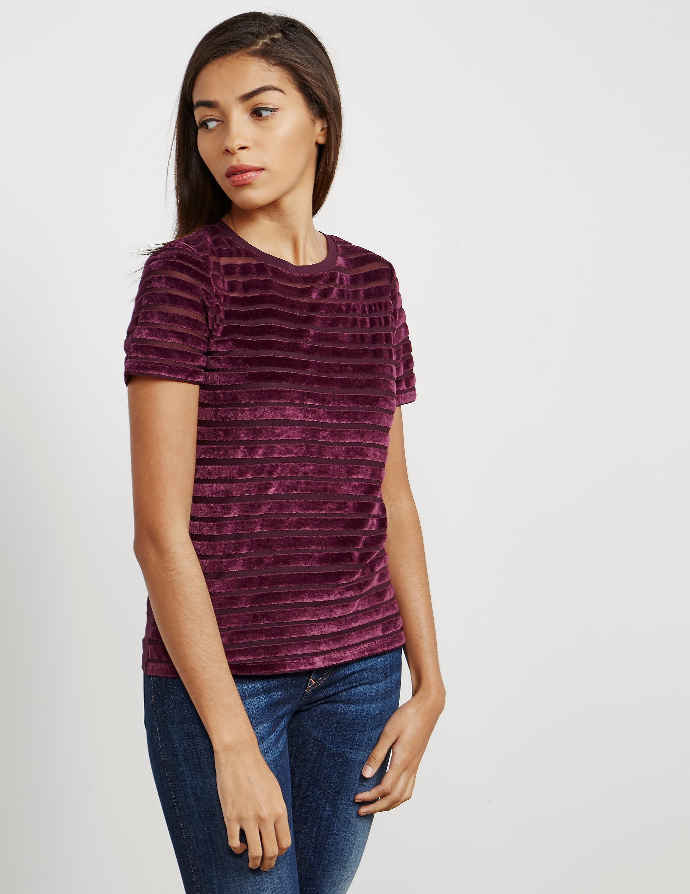 French Connection Velvet Stripe Short Sleeve T-Shirt