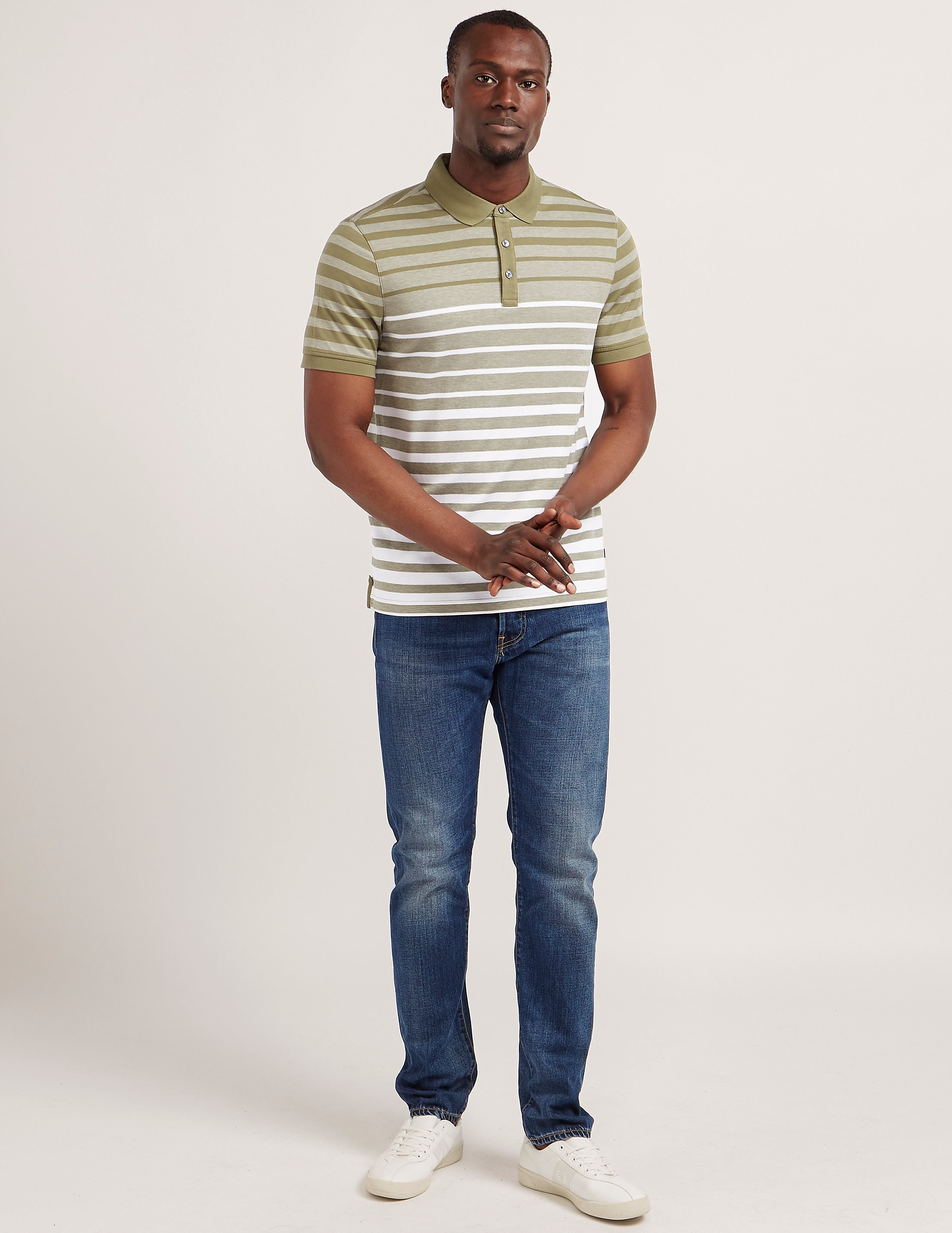 Michael Kors Striped Short Sleeve Polo Shirt