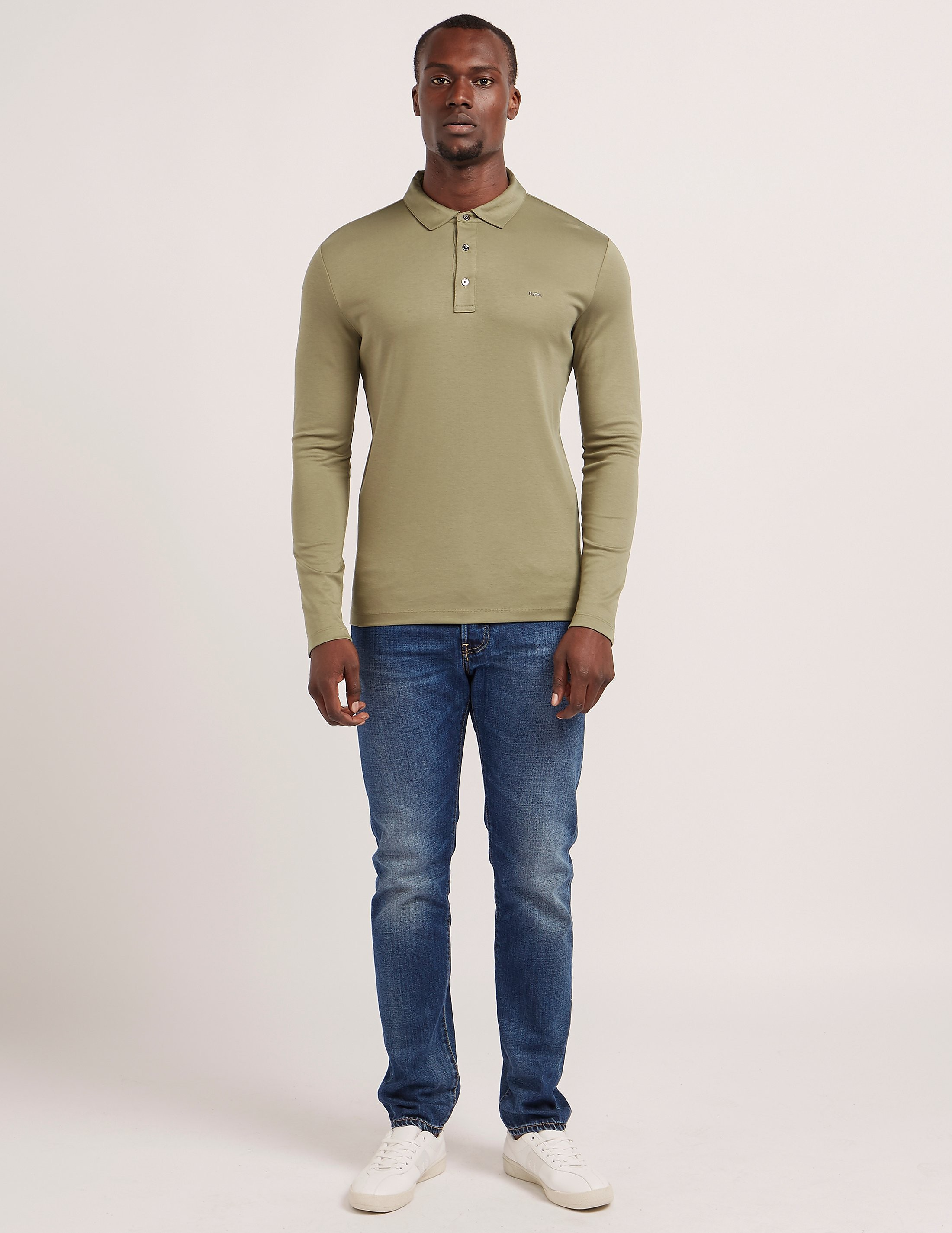 Michael Kors Sleek Long Sleeve Polo Shirt