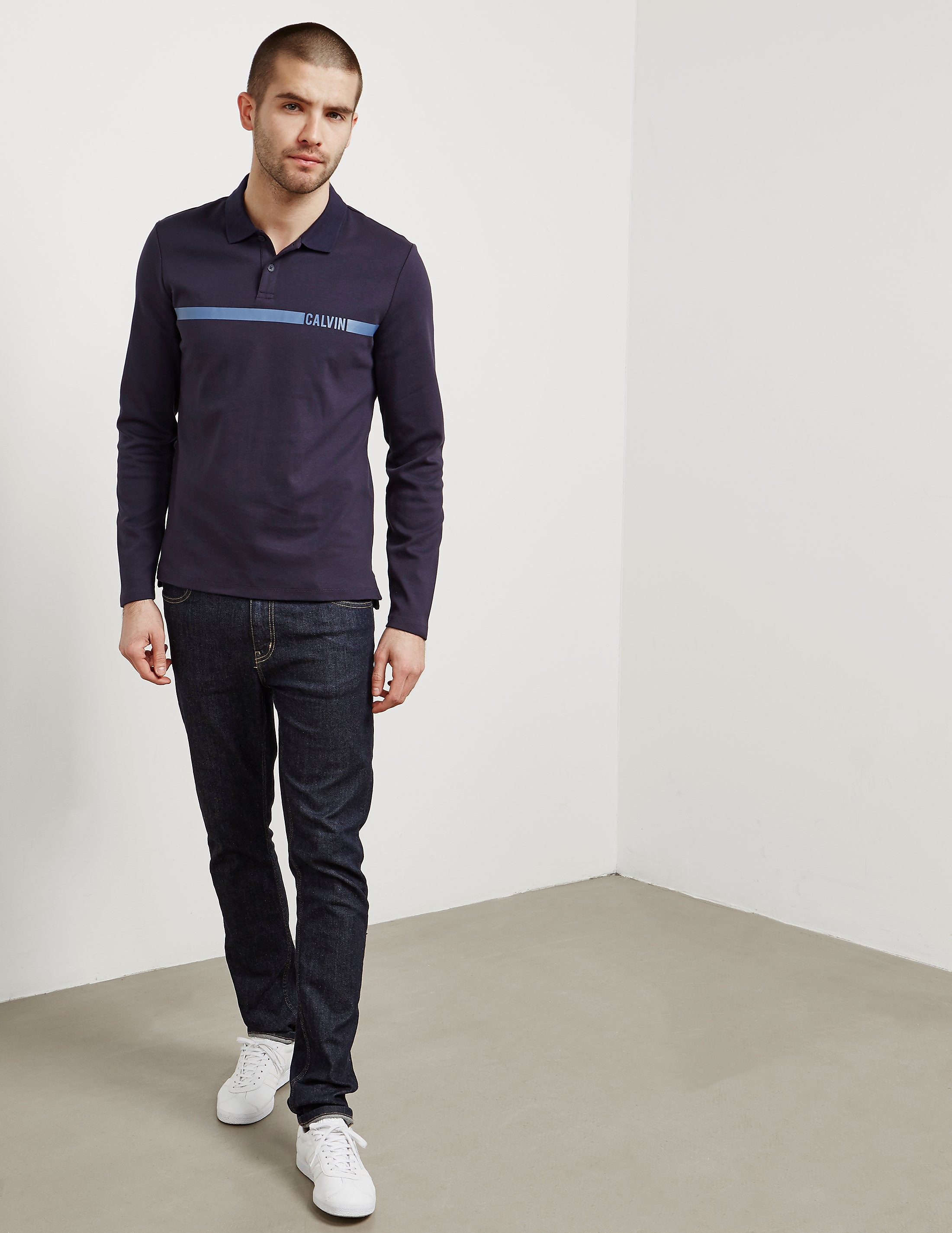 Calvin Klein Band Long Sleeve Polo Shirt