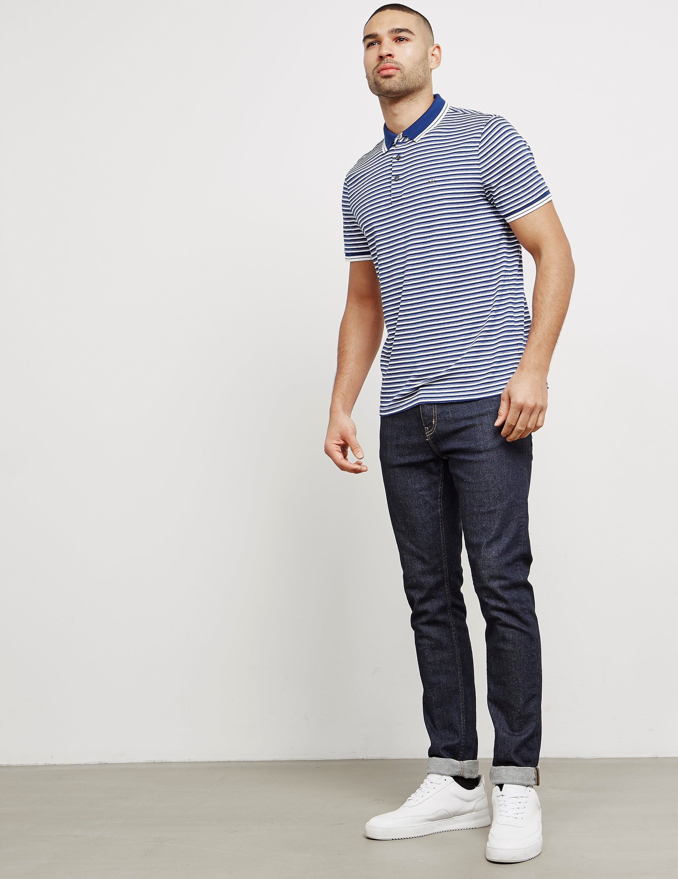 Michael Kors Stripe Short Sleeve Polo Shirt