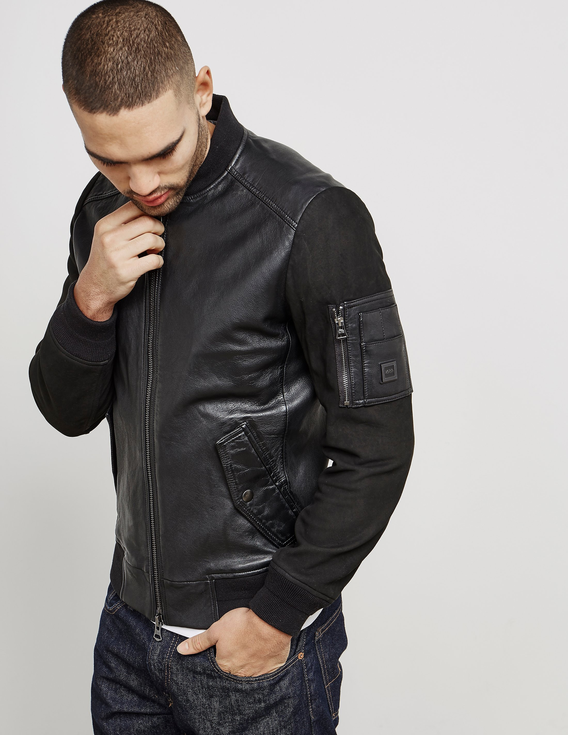 BOSS Jixx Leather Bomber Jacket