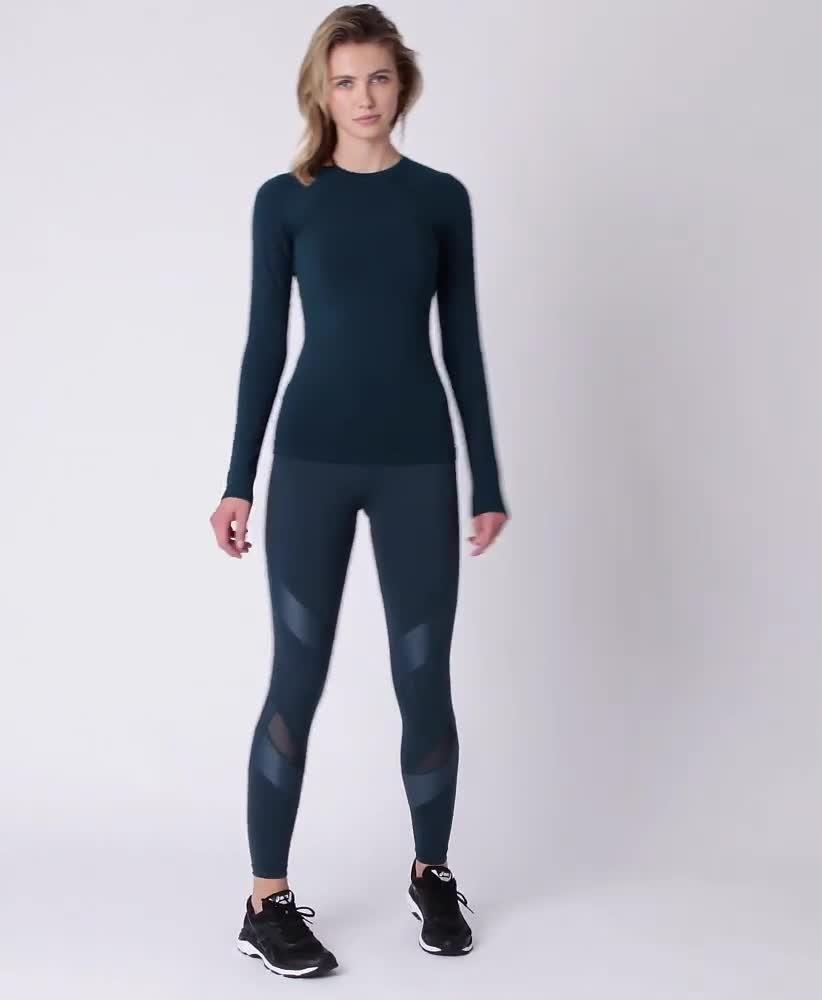 9cc409283530 Glisten Bamboo Long Sleeve Workout Top - Midnight Teal