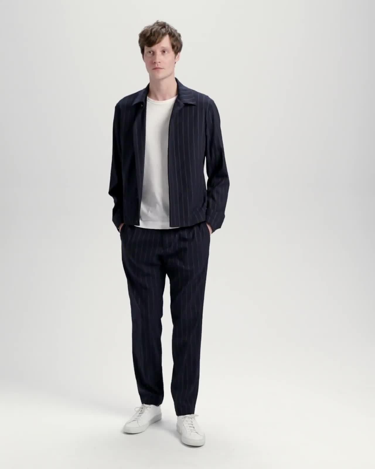 Wool Blend Dashed Pinstripe Blouson Jacket