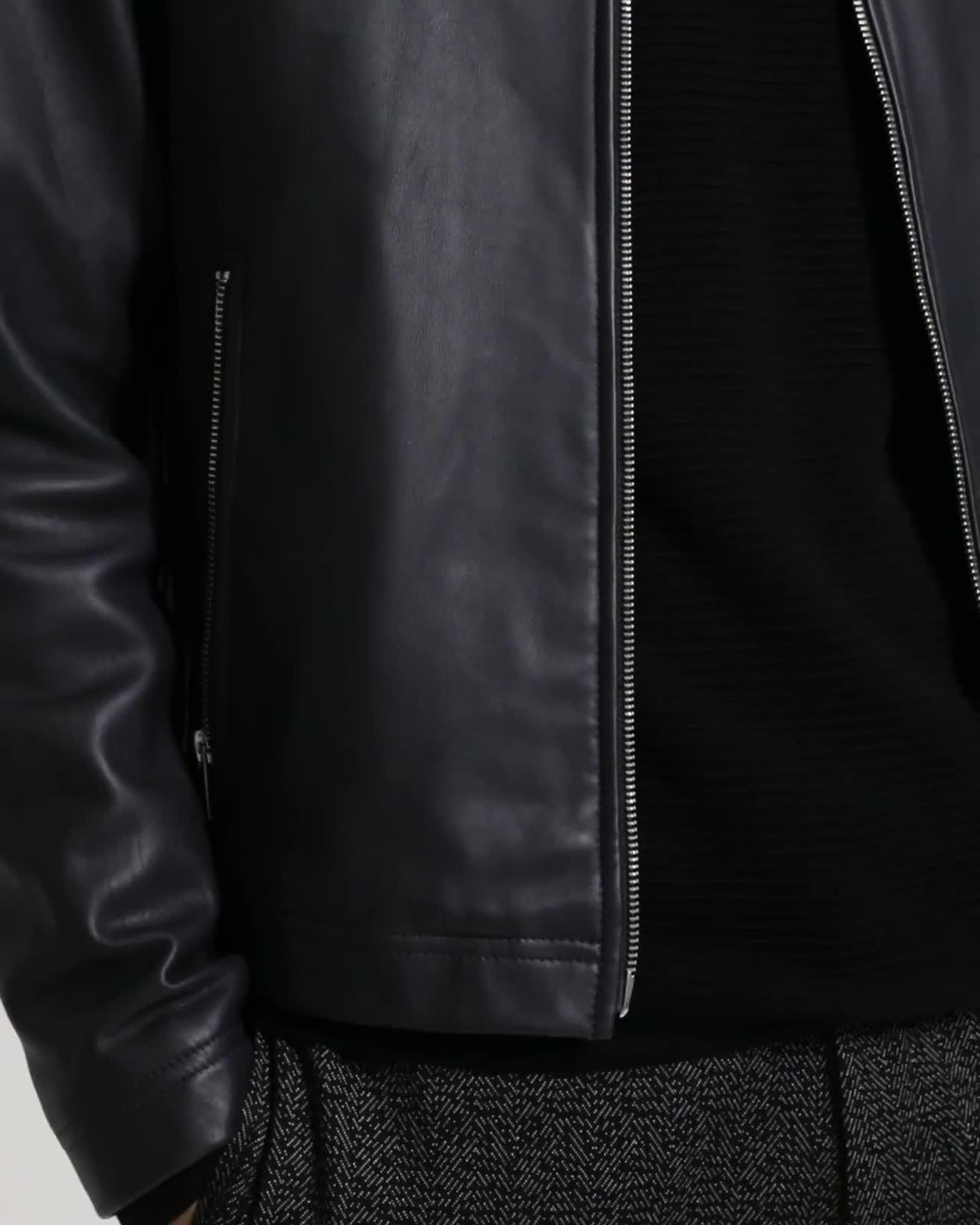 Leather Stand-Collar Jacket