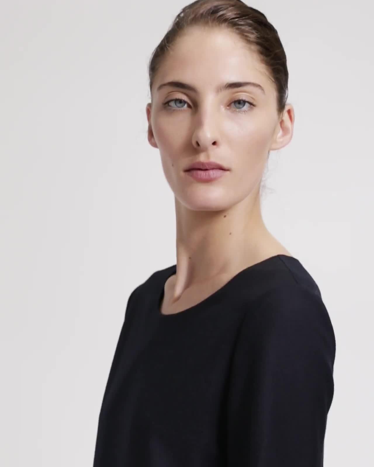 Long-Sleeved Paneled Shift Dress