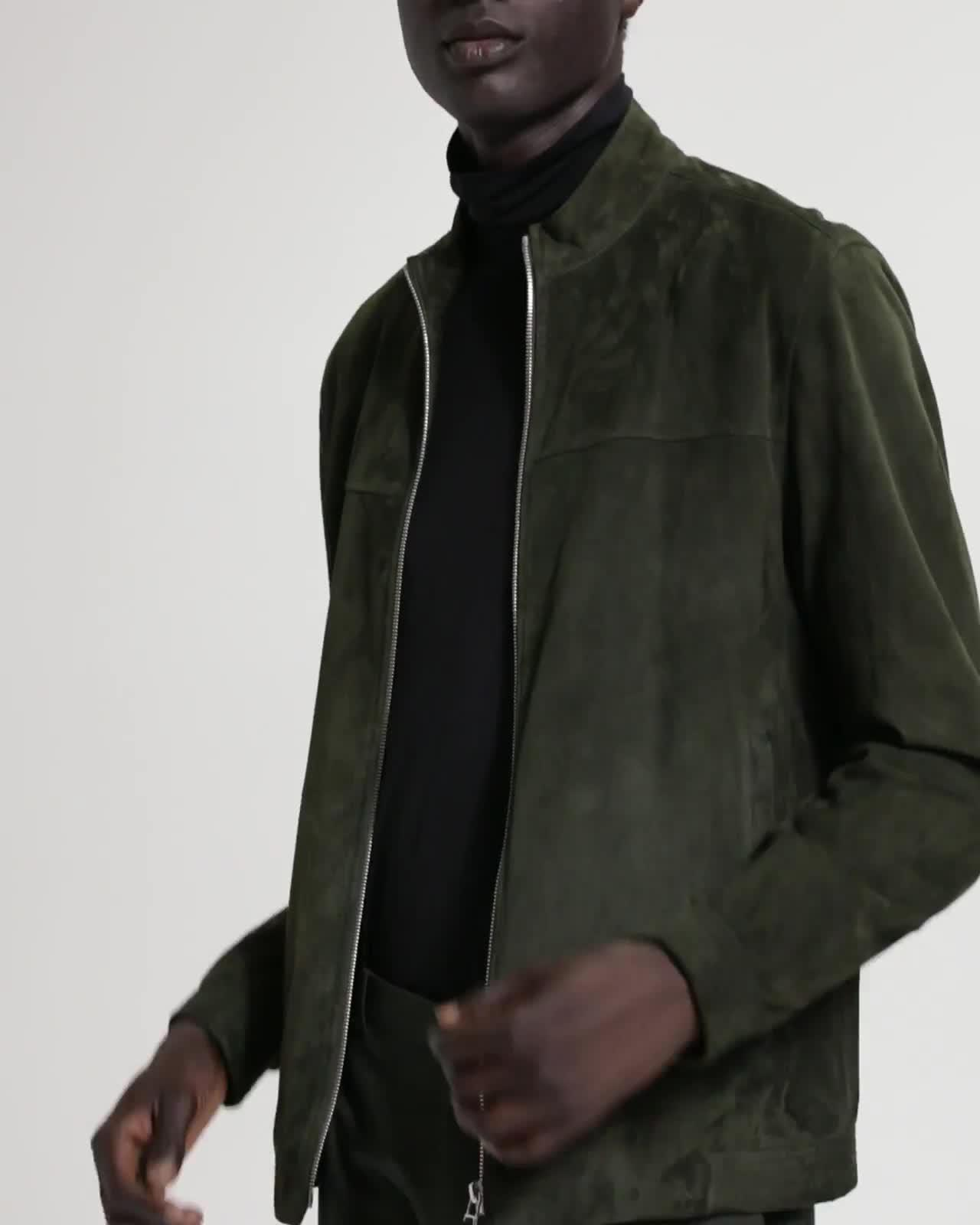 Suede Mock Neck Jacket