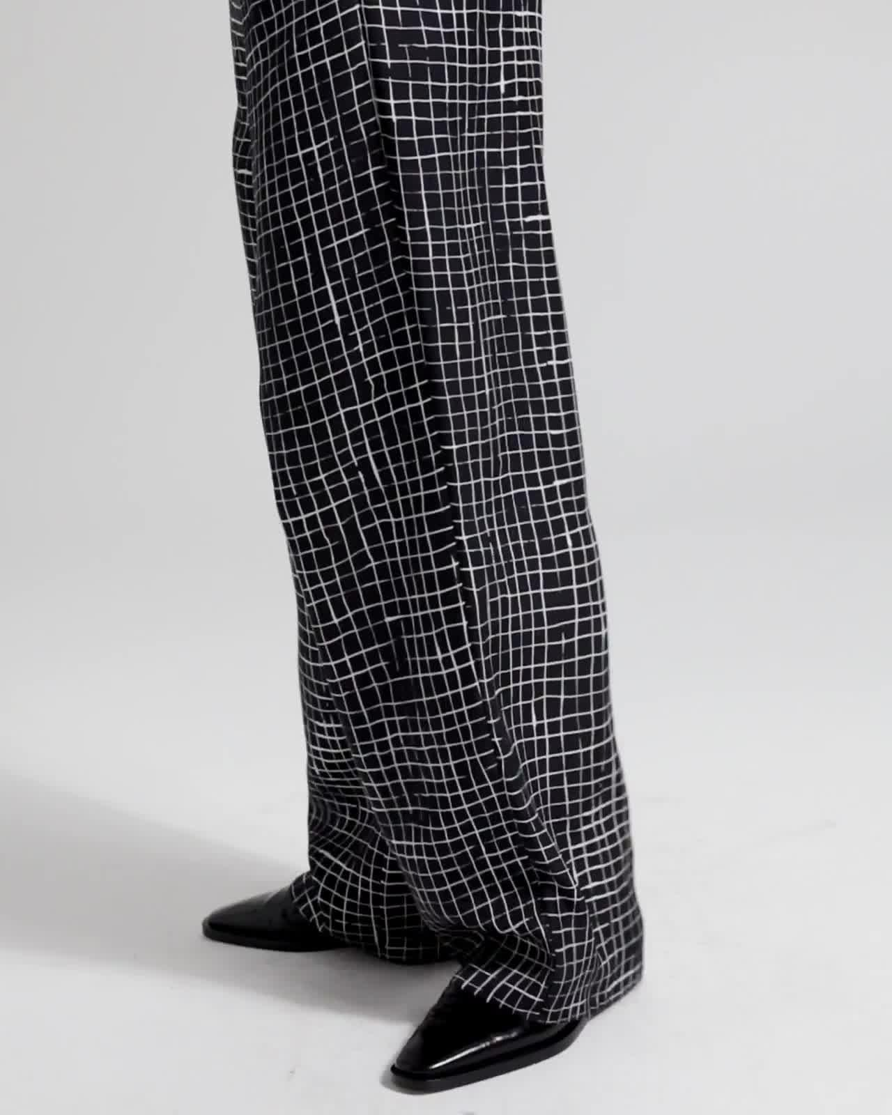 Grid Twill Pull-On Trouser