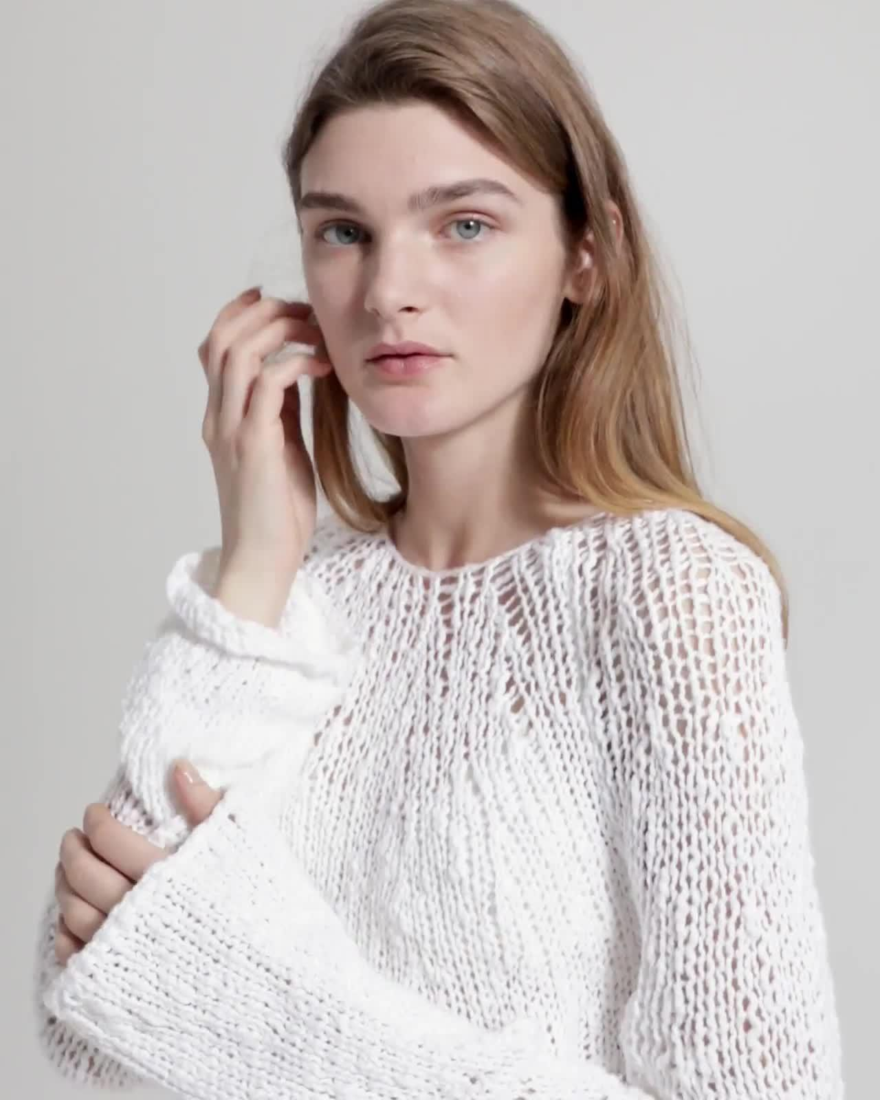 Cotton Crochet Boatneck Pullover