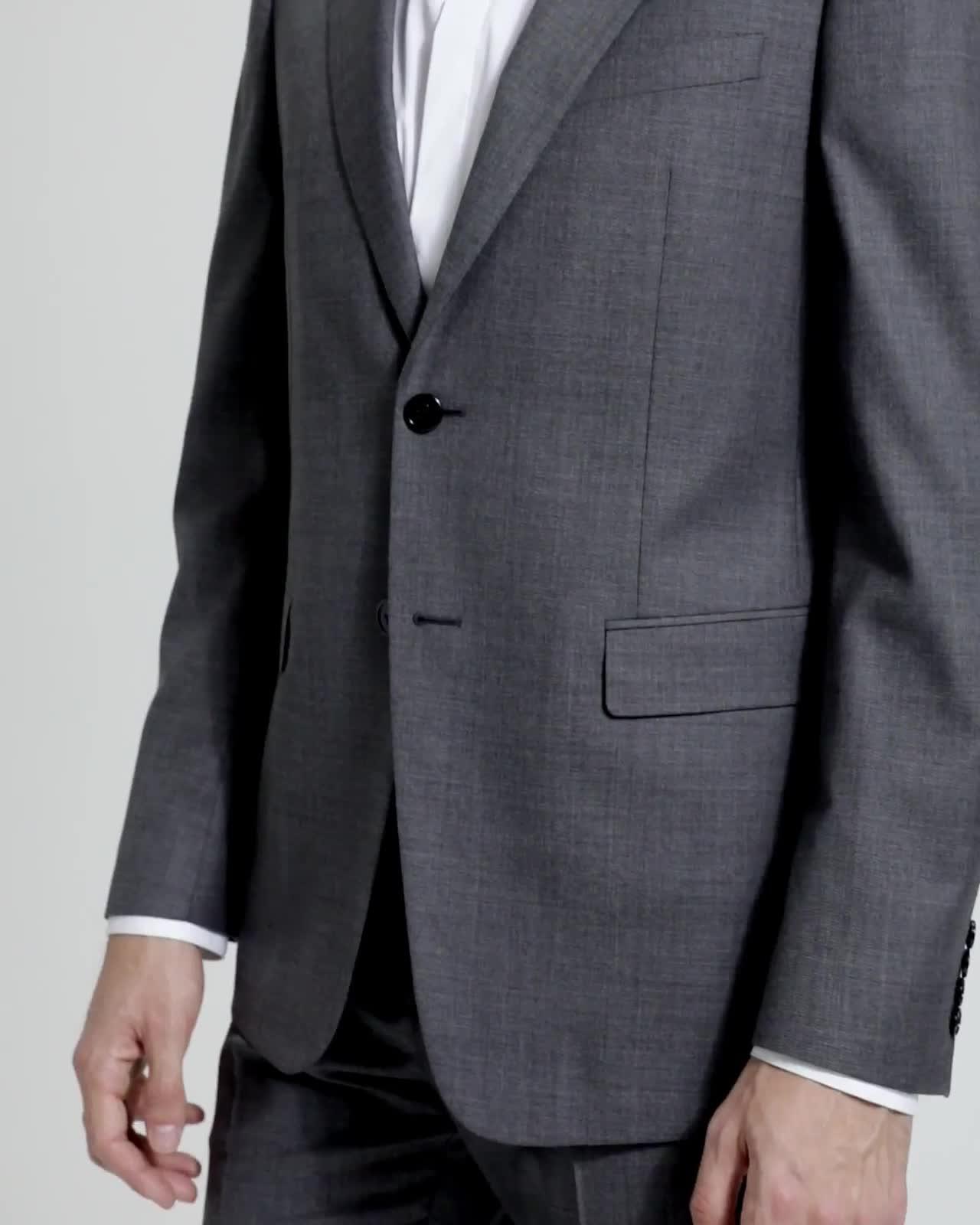 Sartorial Sharkskin Wool Chambers Jacket