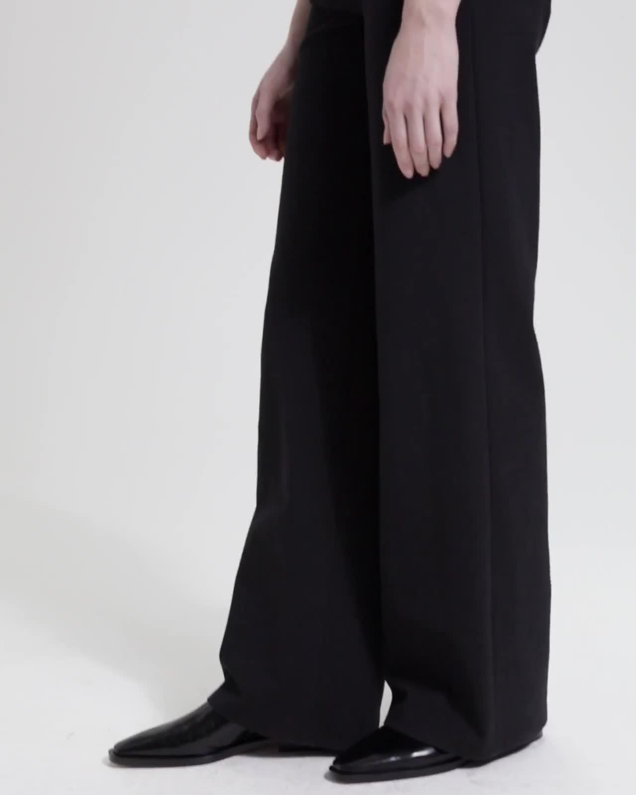 Cotton Ponte Wide-Leg Pant