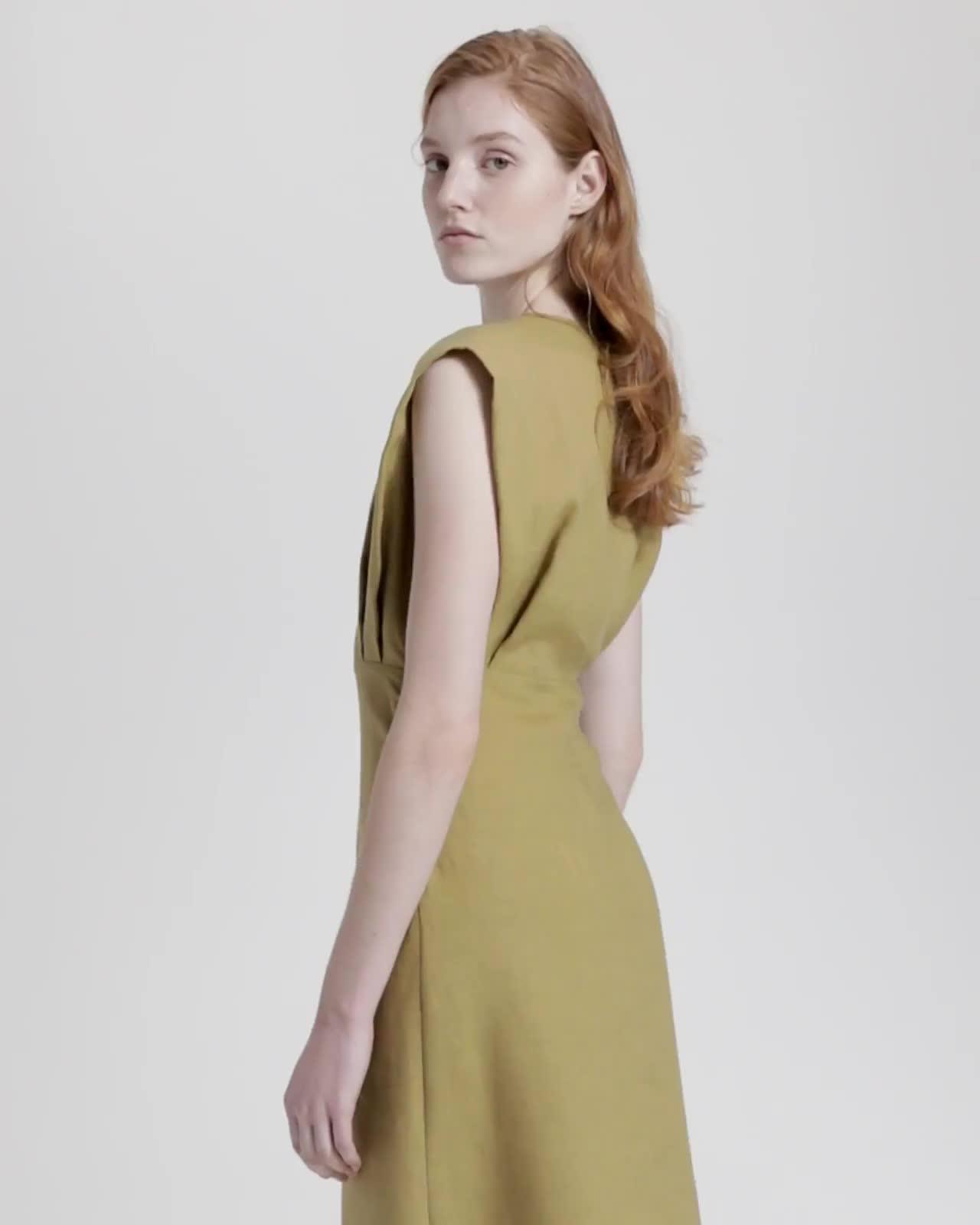 Pure Linen Deep V Easy Dress