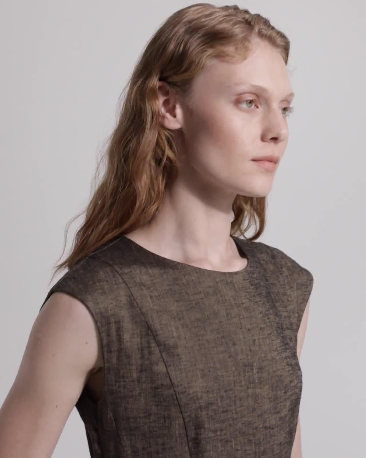 Textured Linen Peplum Dress