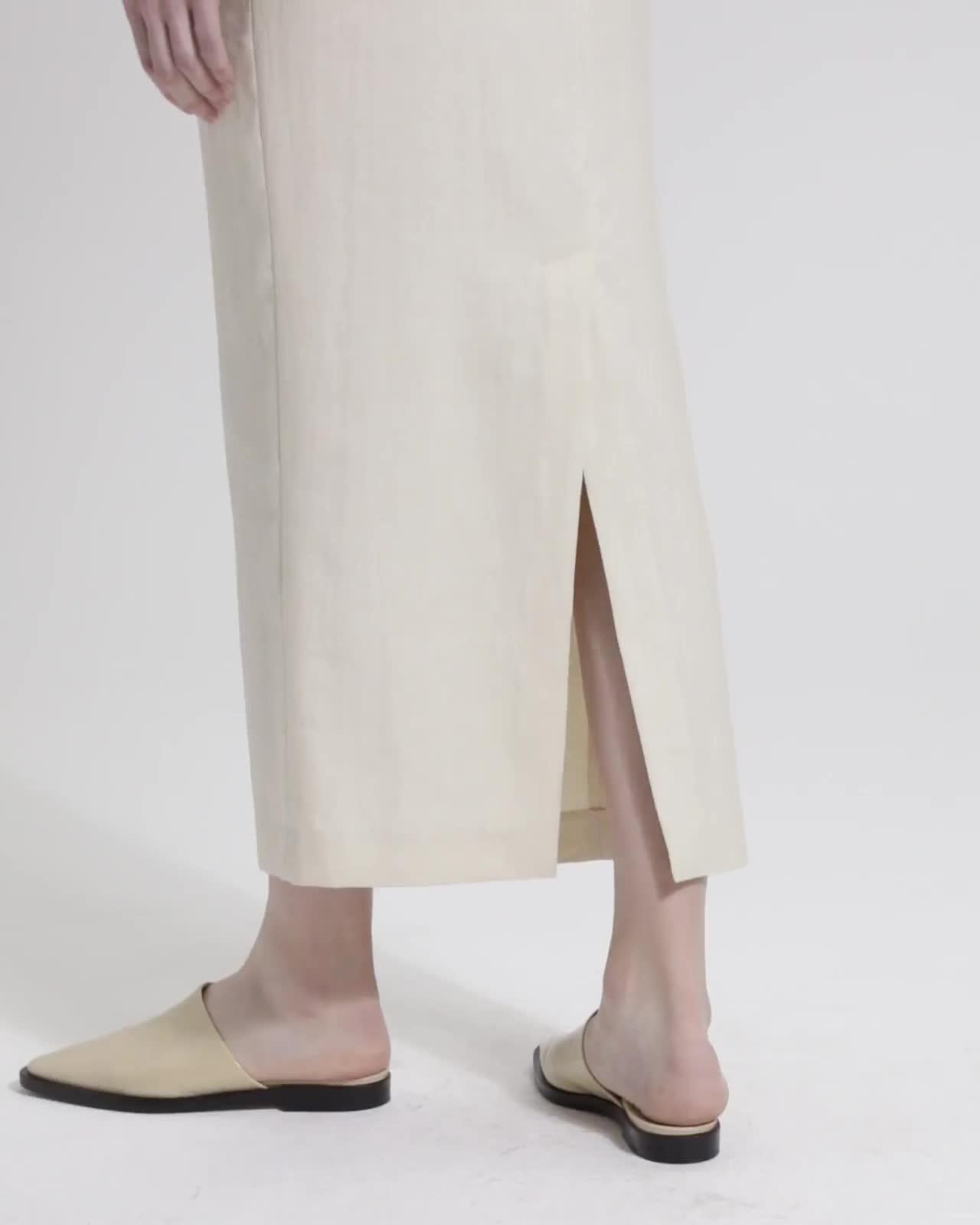 Luxe Linen Long Pencil Skirt