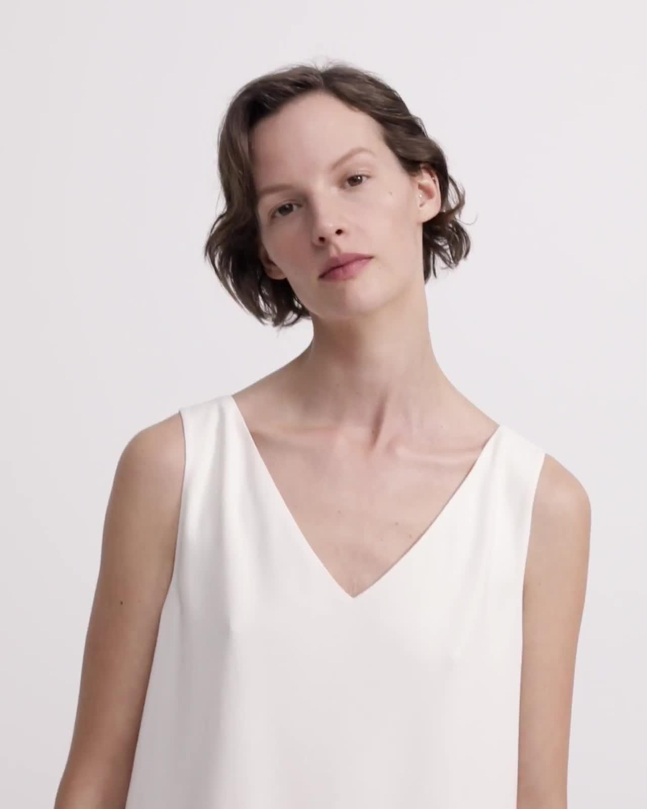 Crepe V-Neck Shift Dress