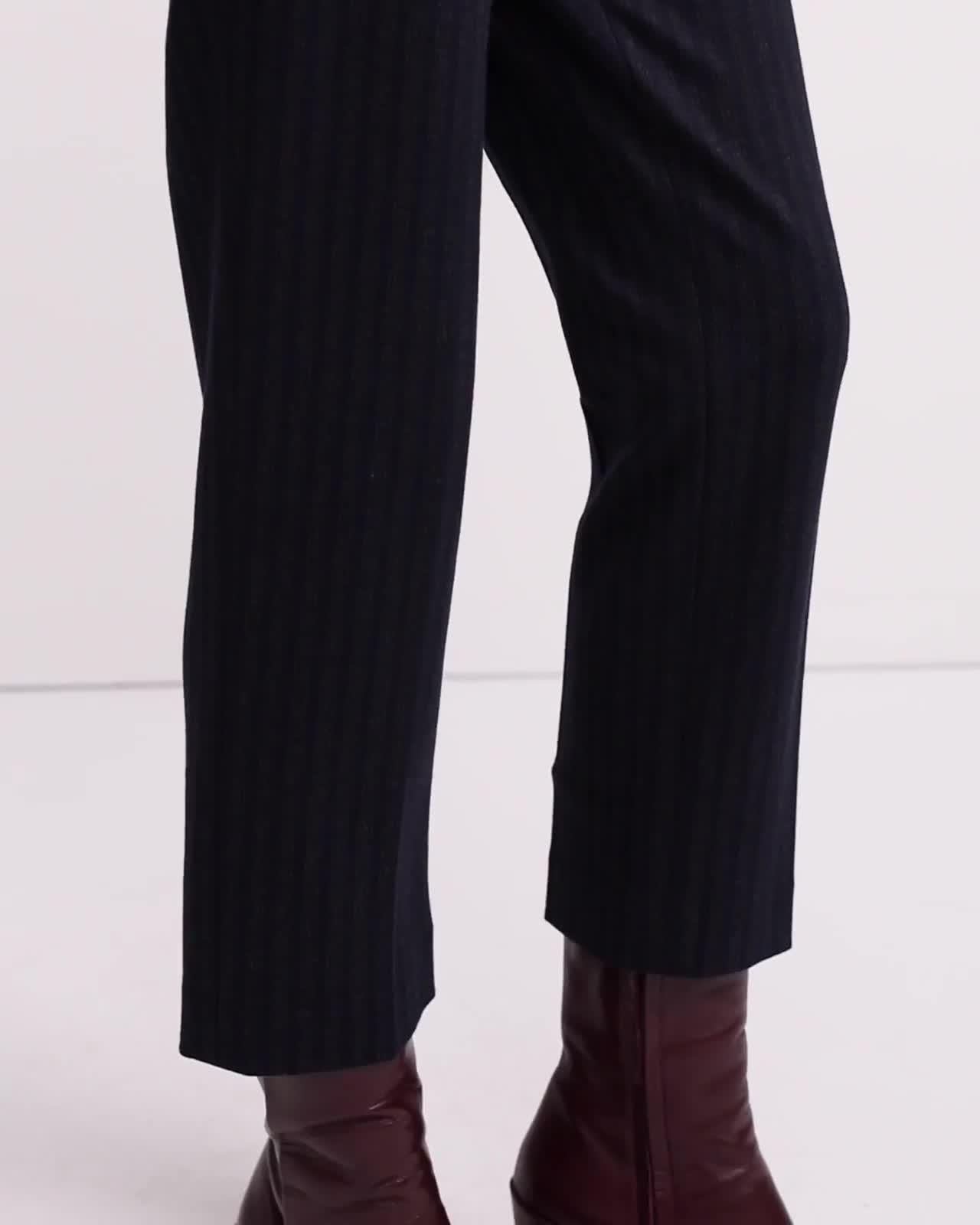 Stripe Knit Cropped Tailored Trouser