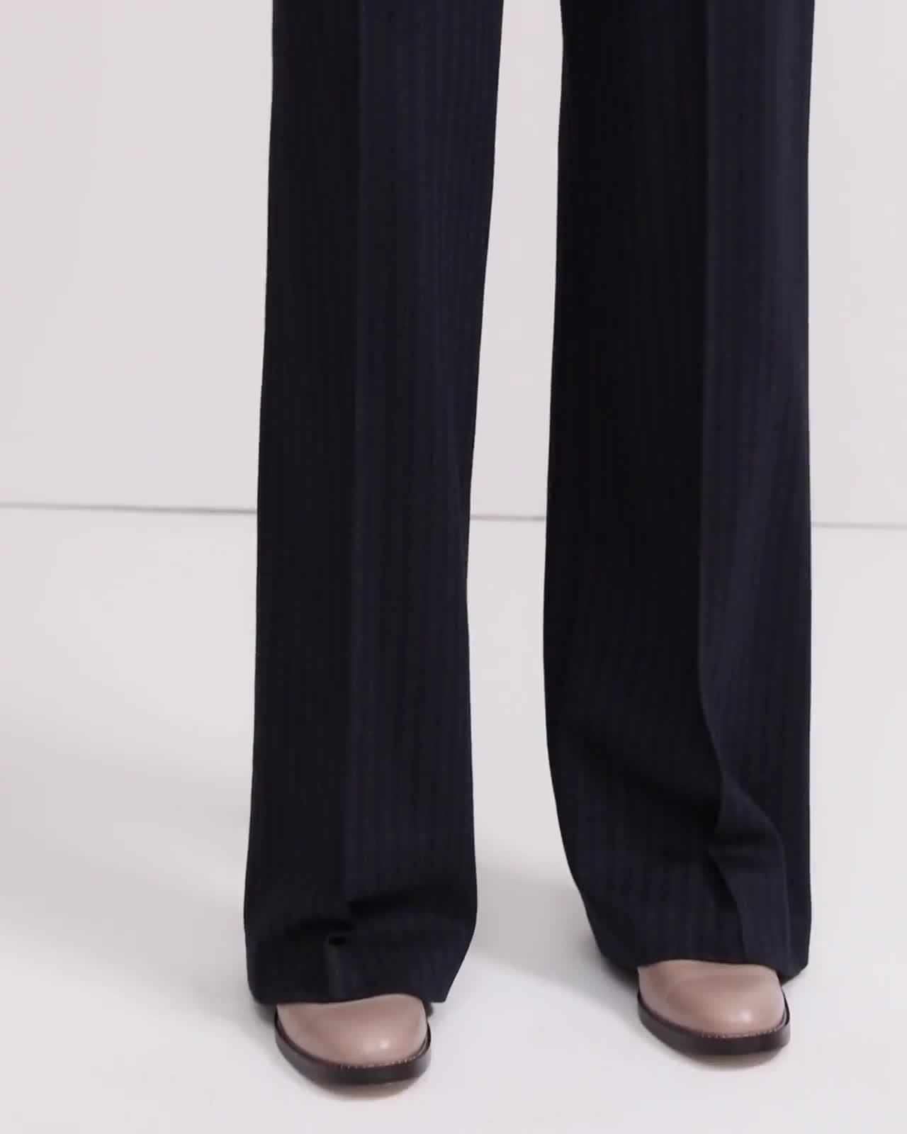 Striped Knit Wide Leg Pant