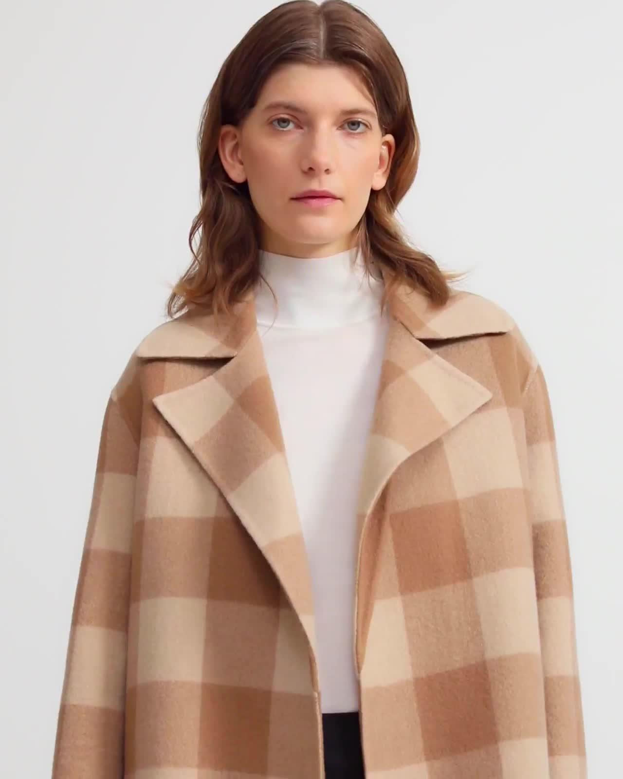 Double-Faced Check Overlay Coat