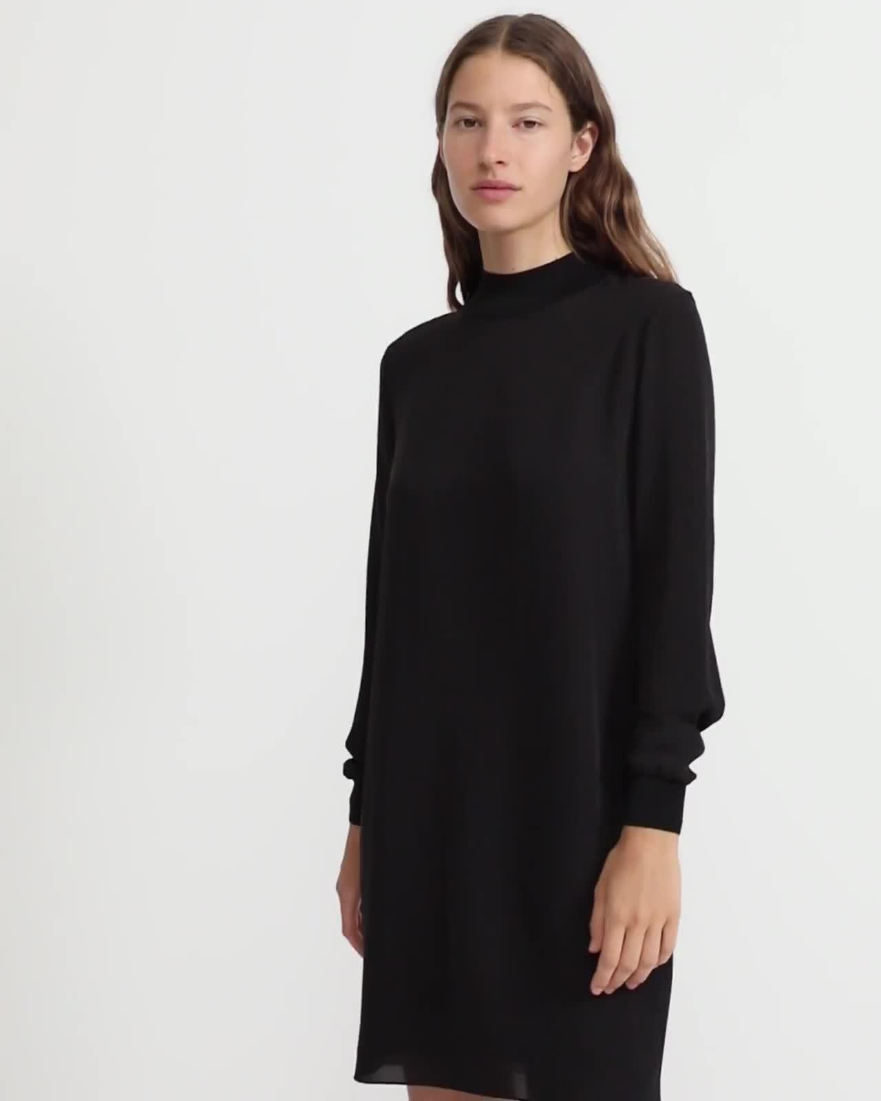 Silk Combo Mock Neck Dress
