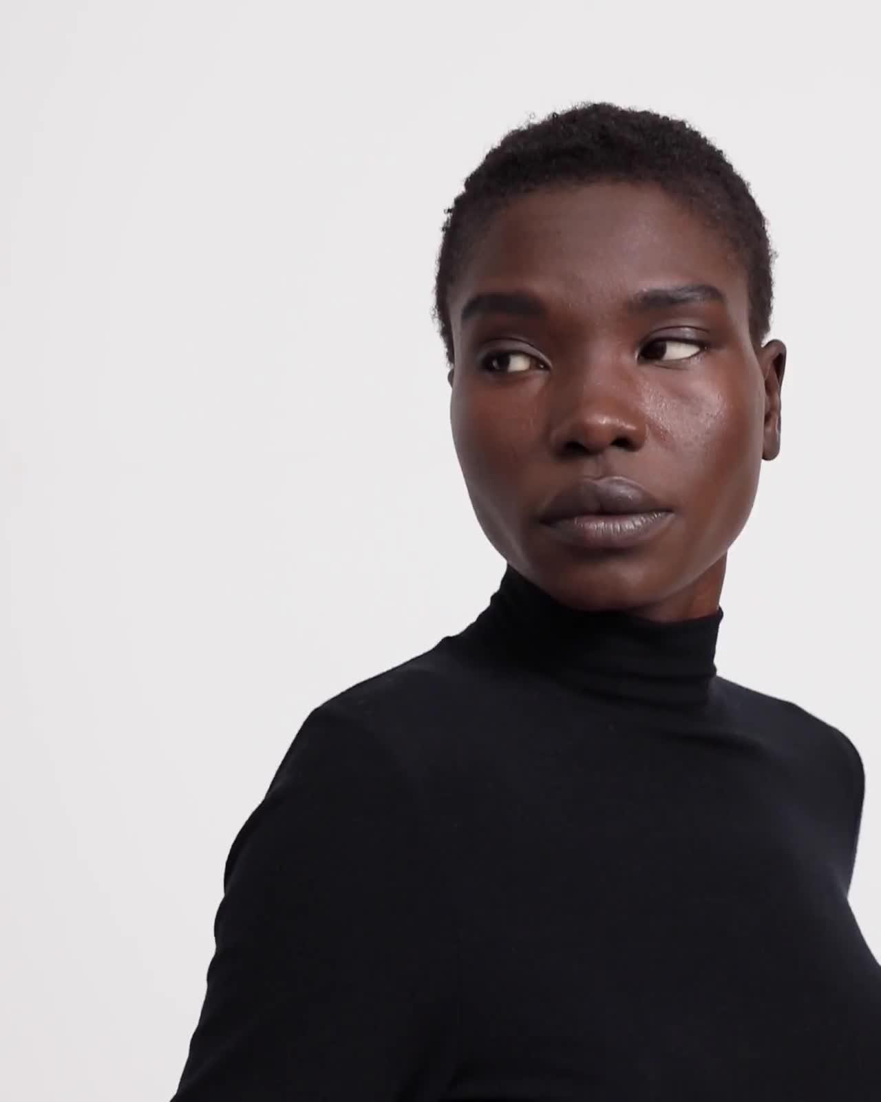 Turtleneck Top in Ribbed Viscose