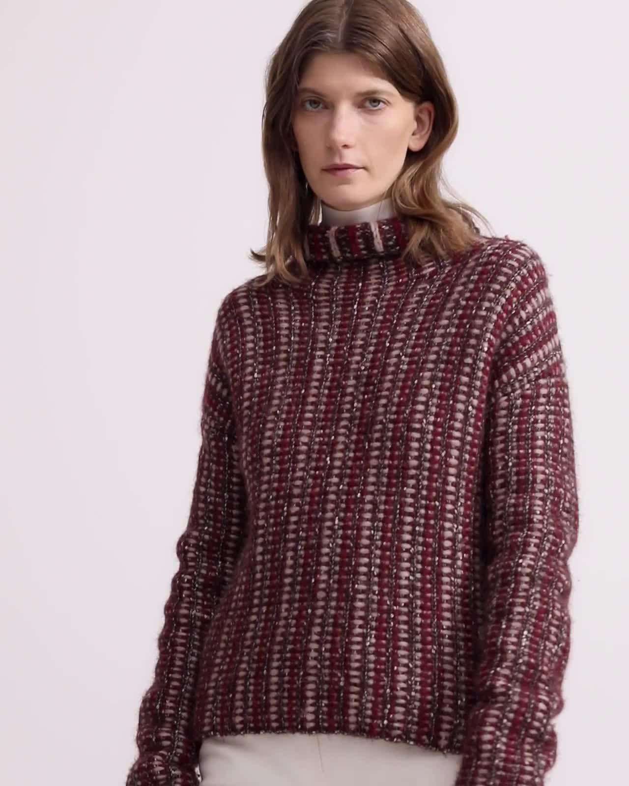 Turtleneck Sweater in Inlay Wool