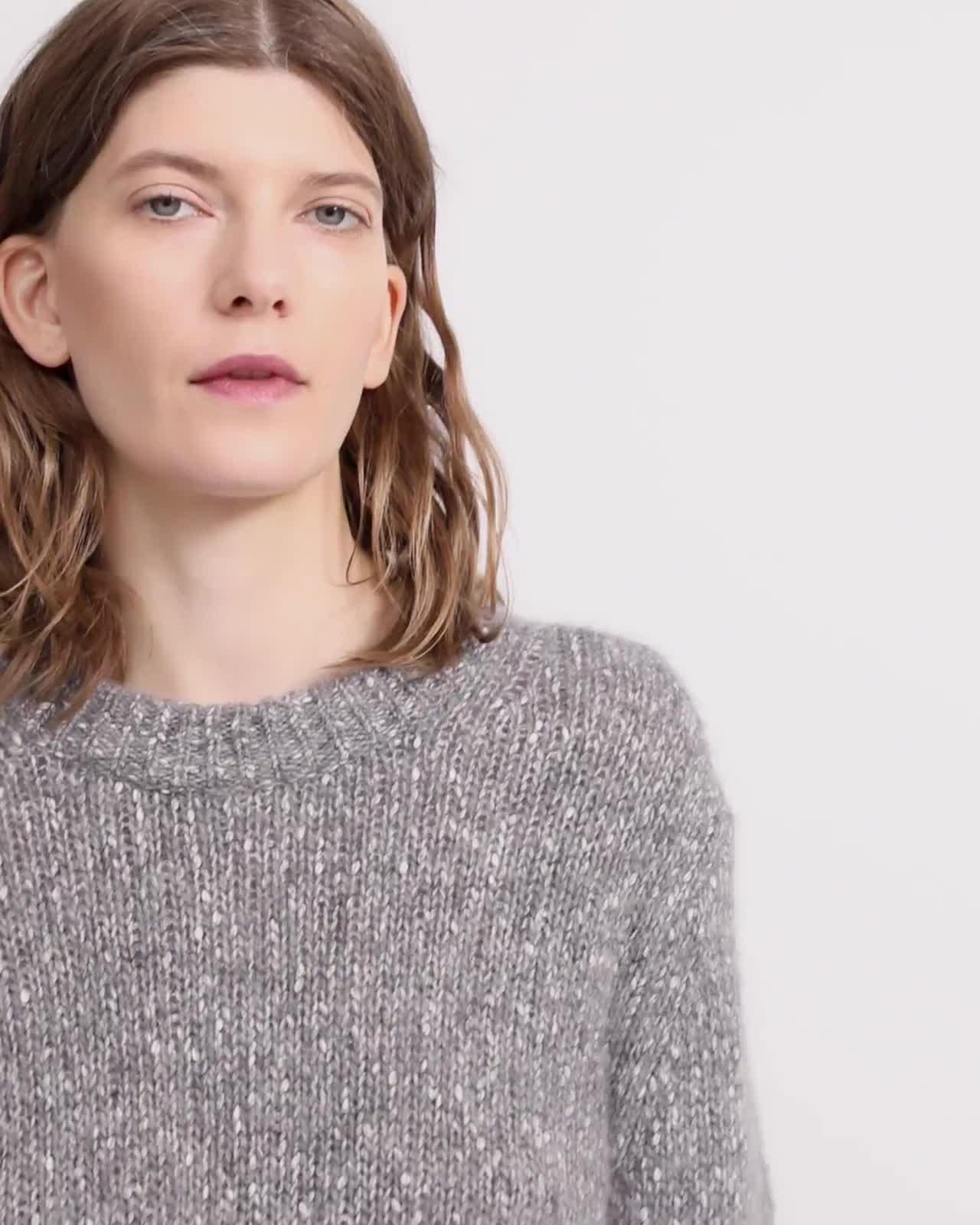 Crewneck Sweater in Alpaca Wool Tweed
