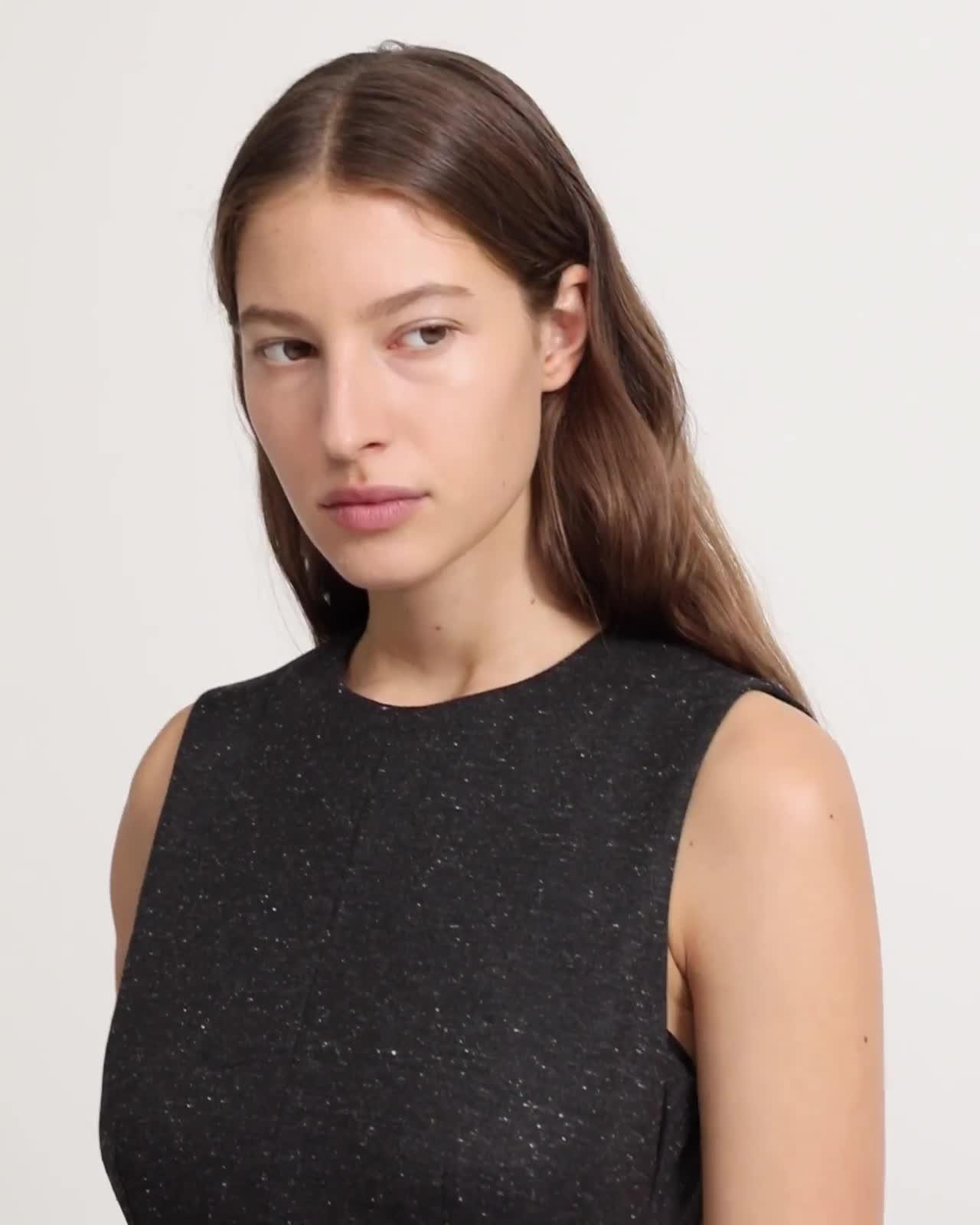 Melange Ponte Sleeveless Seamed Dress