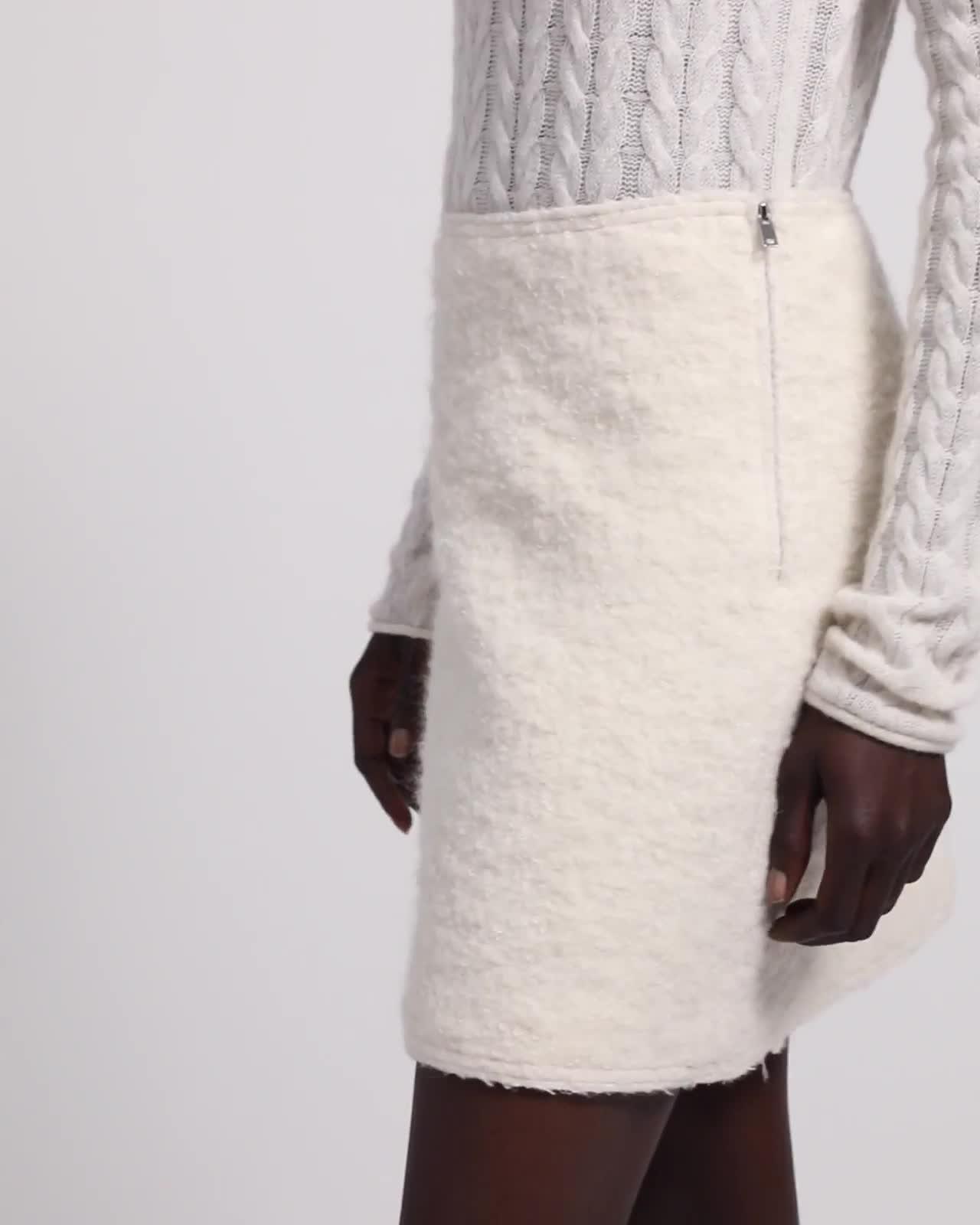 Wool Boucle A-Line Mini Skirt