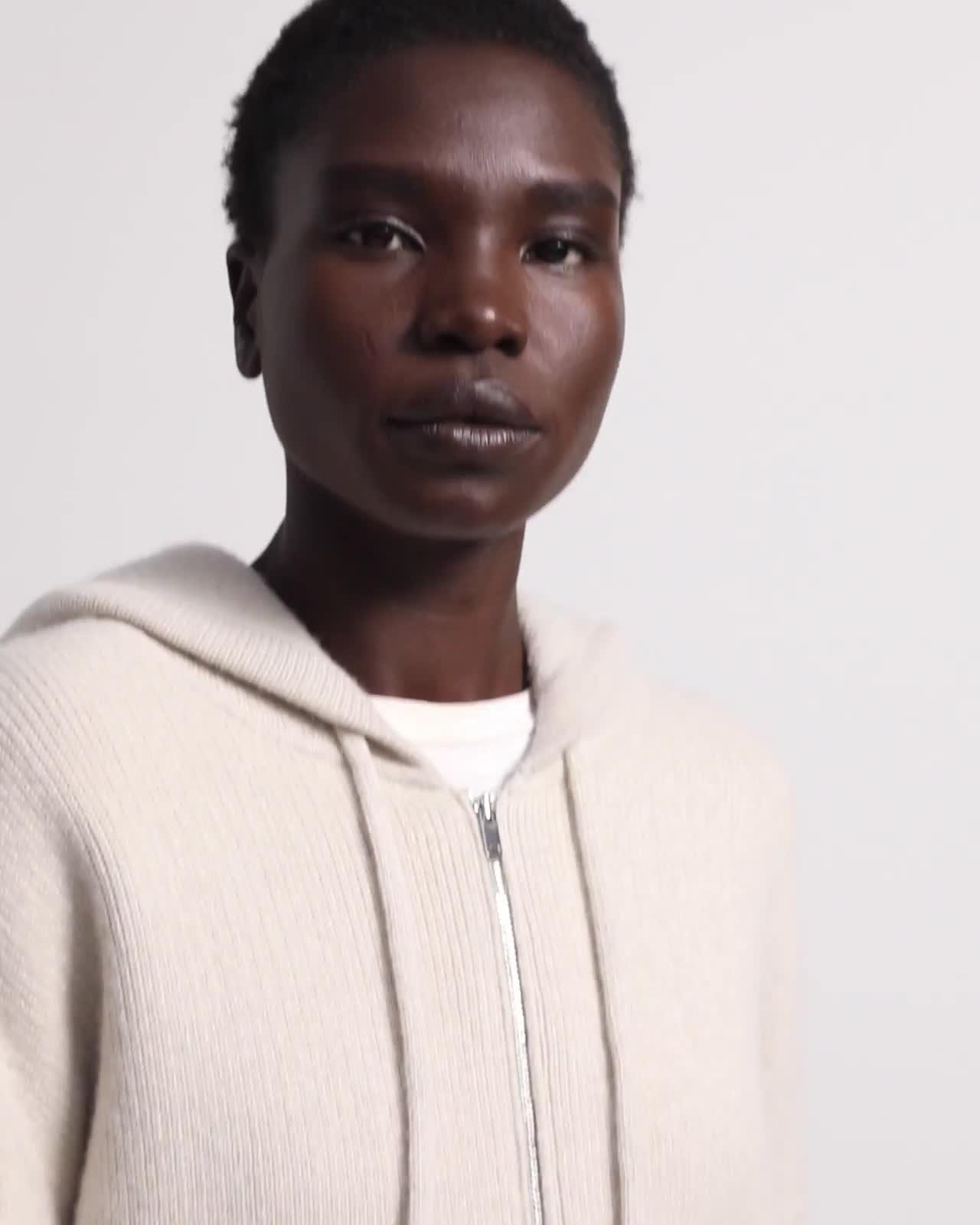 Oversized Zip Hoodie in Felted Wool-Cashmere